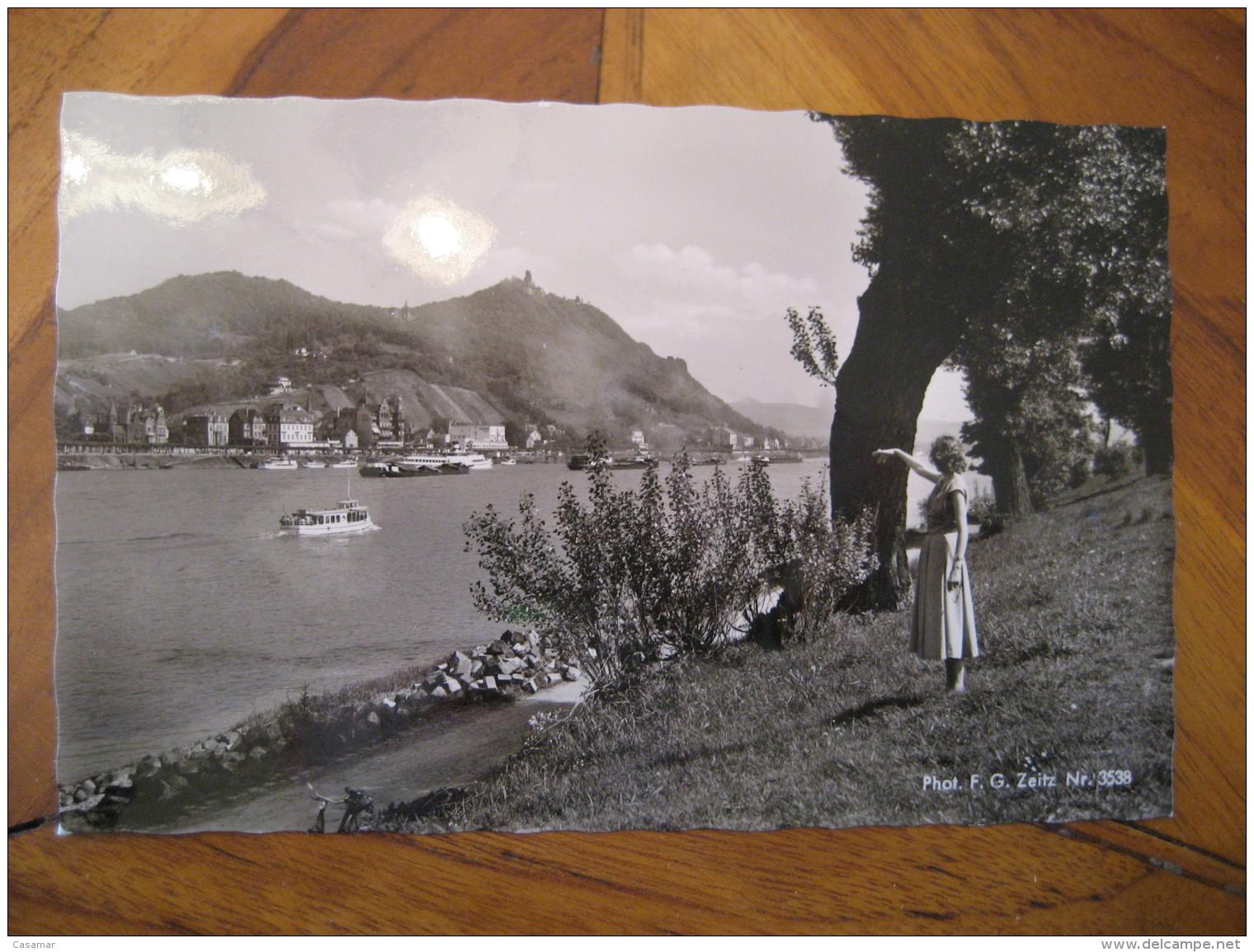 KONIGSWINTER Drachenfels Boat Ship River Post Card North Rhine Westphalia Koln Rhein Sieg Kries Germany - Koenigswinter