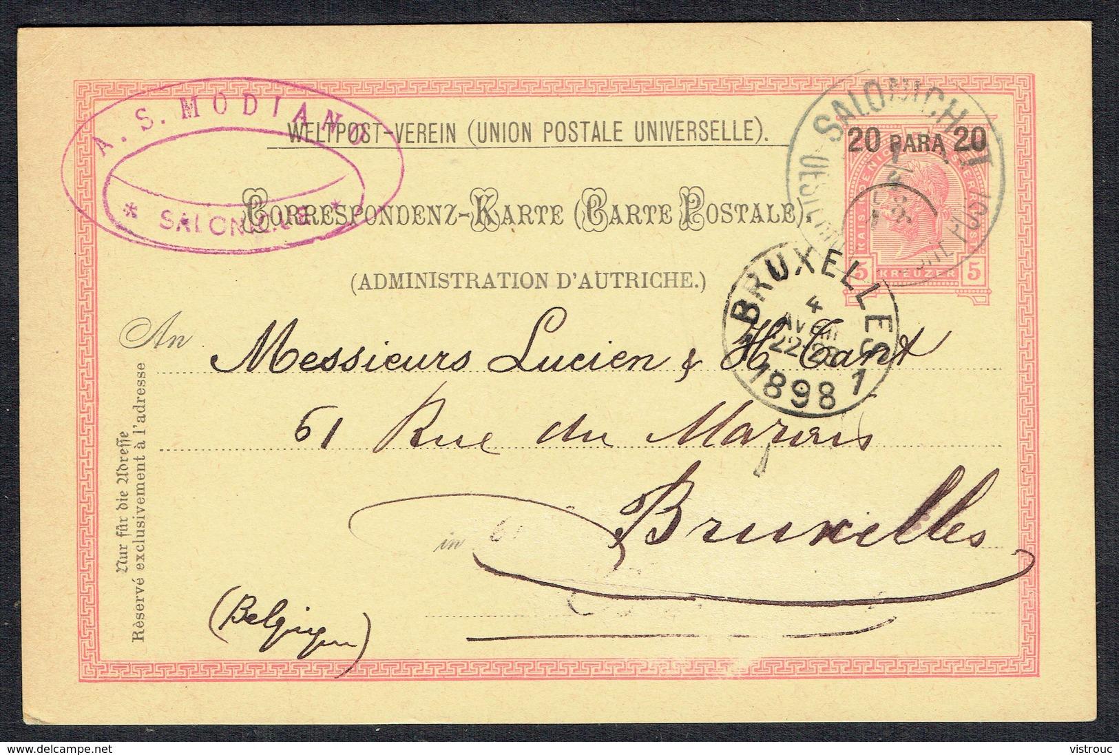Correspondenz-Karte - (Mit 1 Aufdrückte Briefmark - Y & T N° 16) - SALONICH Nach BRUXELLES (BE) - 1/4/1898. - Levant Autrichien