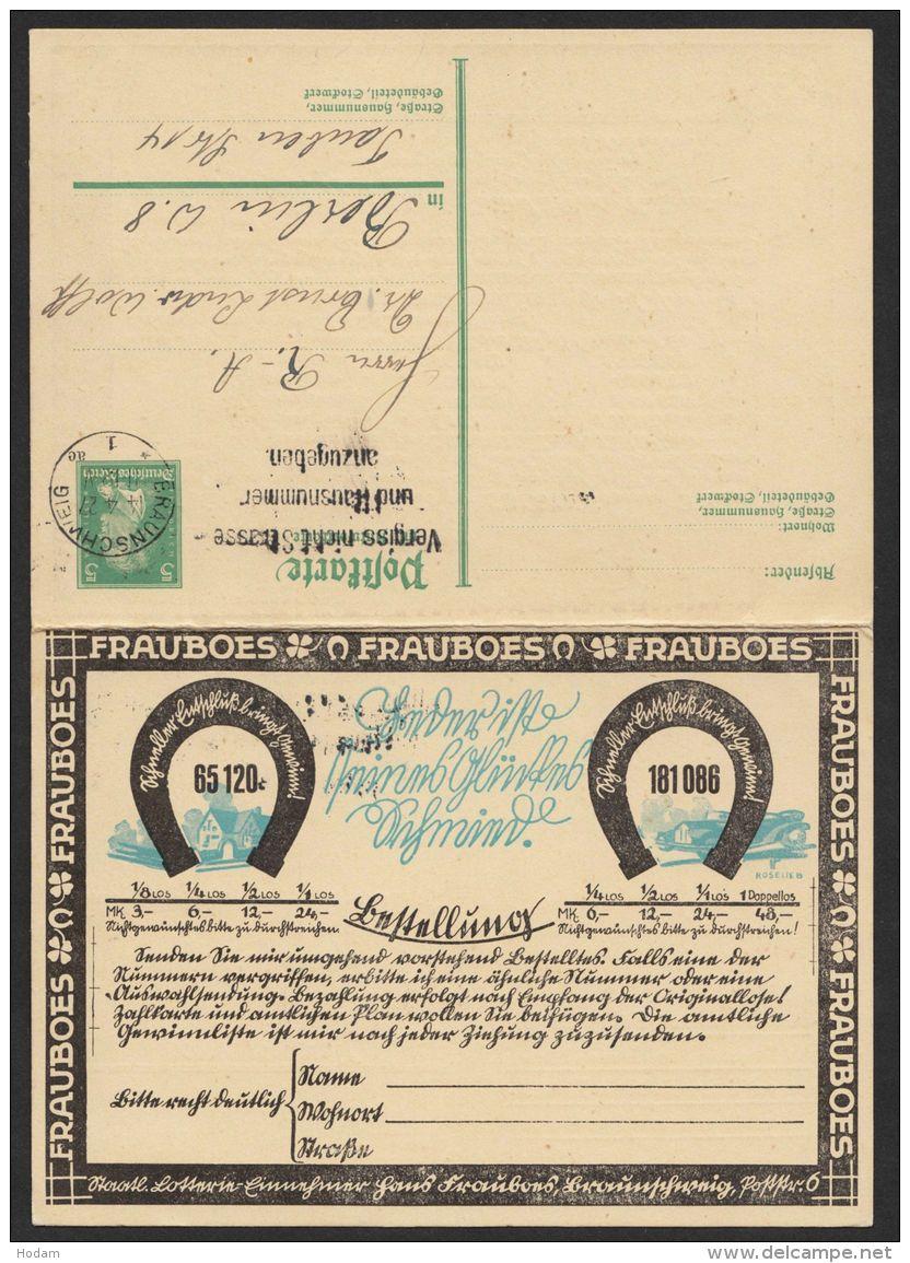 """Mi-Nr. P172I, Kplt. Doppelkarte """"Frauboes Braunschweig"""", Bedarf, Dekorativ, O - Deutschland"""