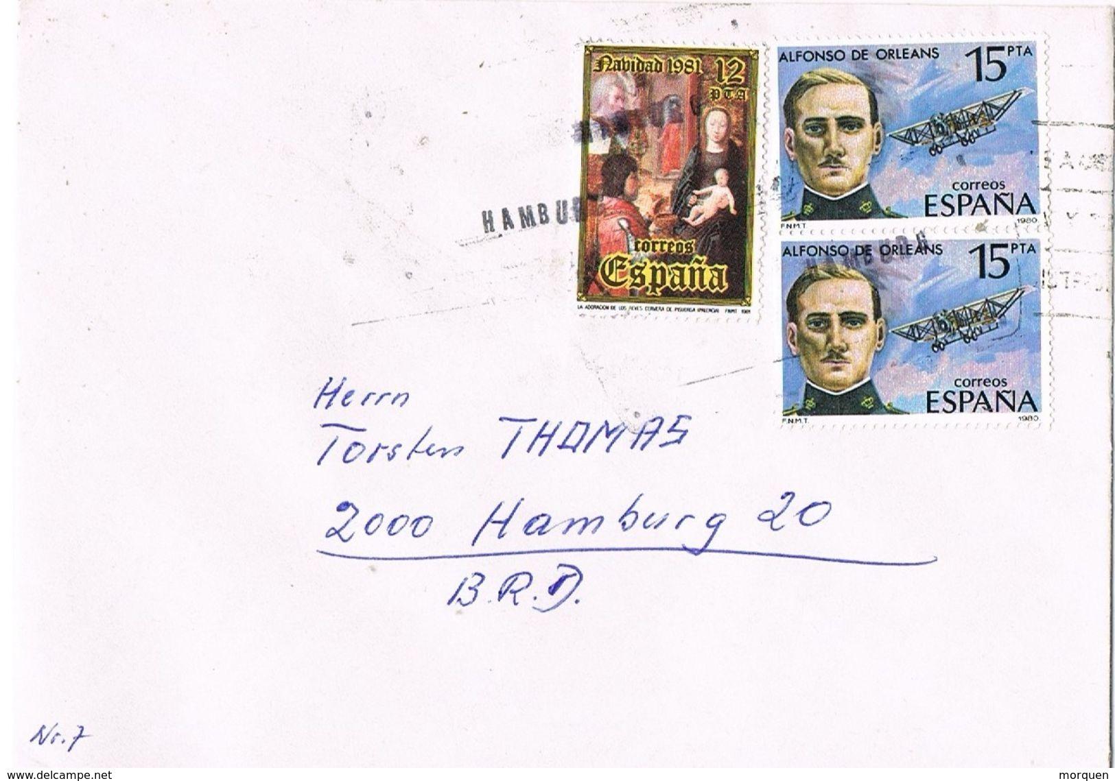 26939. Carta Desde España 1985.  Fechador Lineal De Llegada Aleman HAMBURG, Lineaire - 1931-Hoy: 2ª República - ... Juan Carlos I