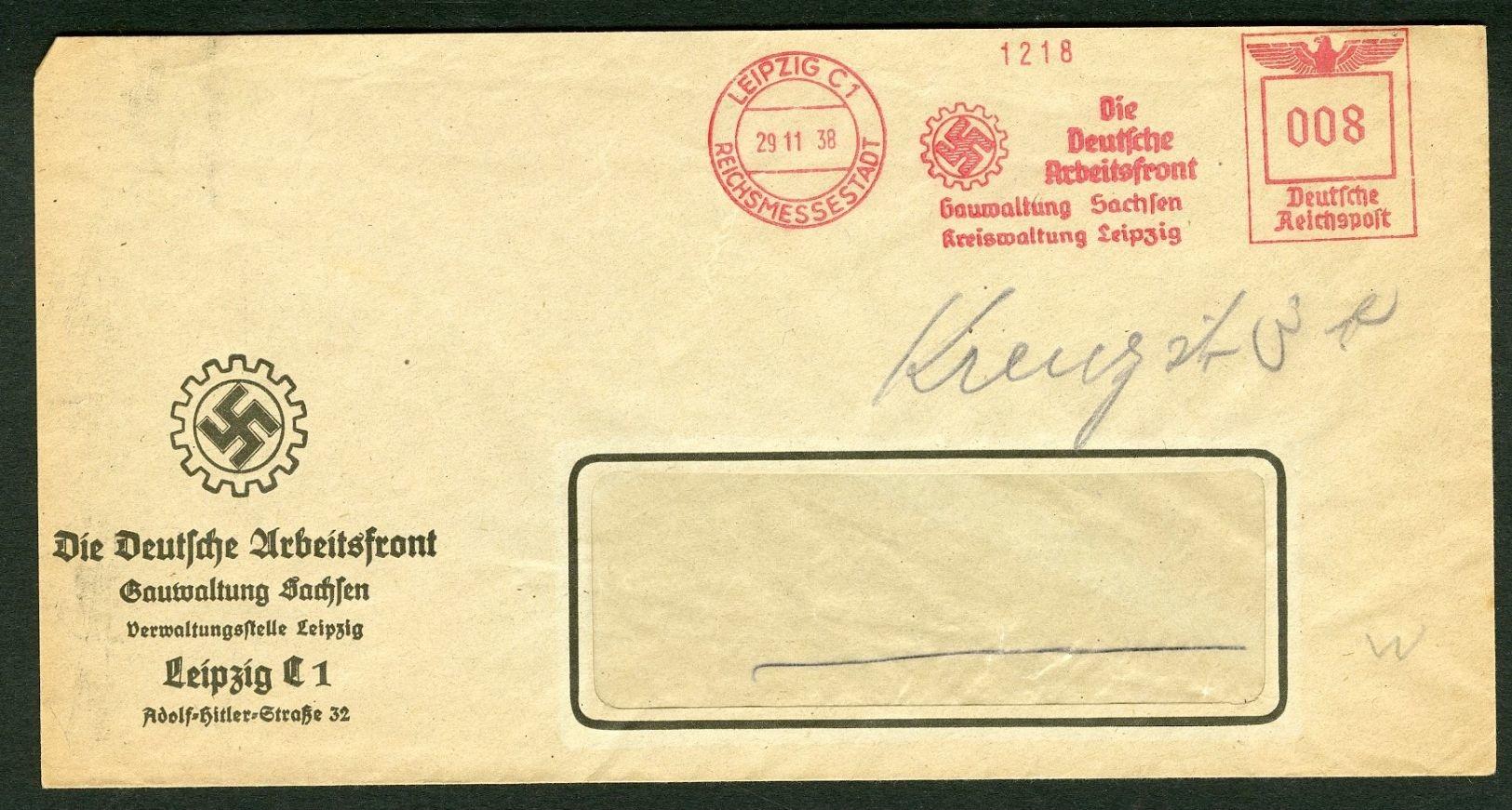 DR Absender Freistempel Deutsche Arbeitsfront Gauwaltung Sachsen 1938 Ab Leipzig Gr32 - Deutschland