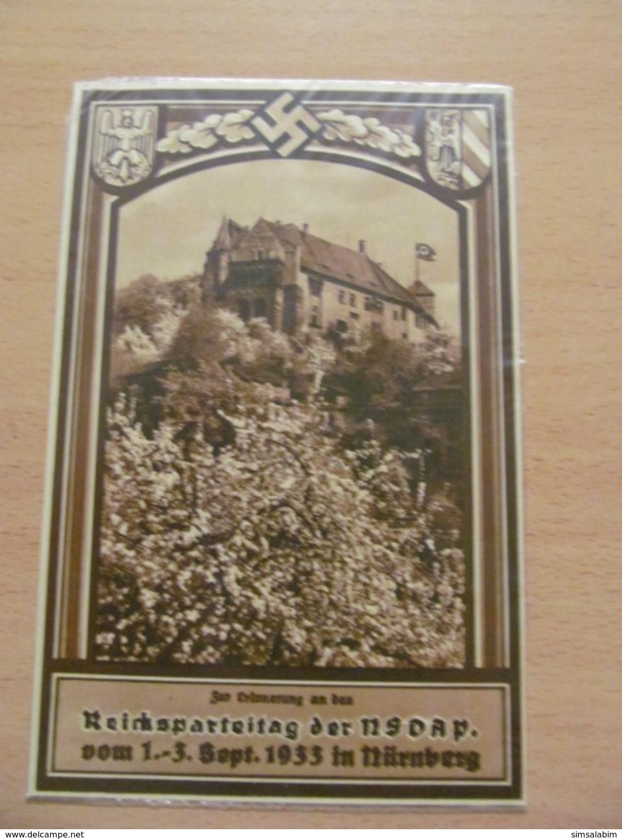 3. Reich ,Parteitagskarte Nürnberg 2.9.33 Mit Nürnberger Burg U Propagandastempel - Briefe U. Dokumente