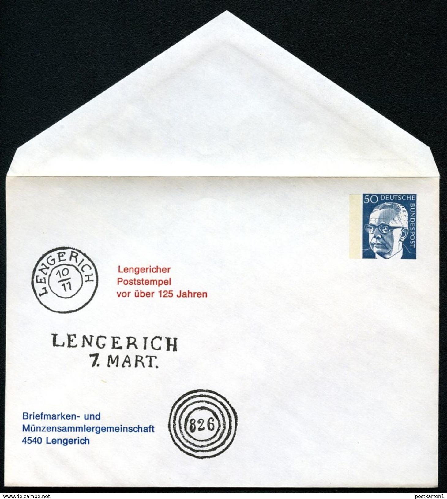 Bund PU54 B2/002a  Privat-Umschlag POSTSTEMPEL LENGERICH 1974  NGK 4,00 € - Post