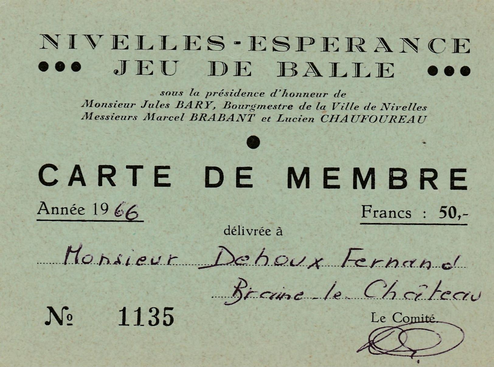 Nivelles , Carte De Membre ,Nivelles - Esperance - JEU DE BALLE Pelote - Nivelles