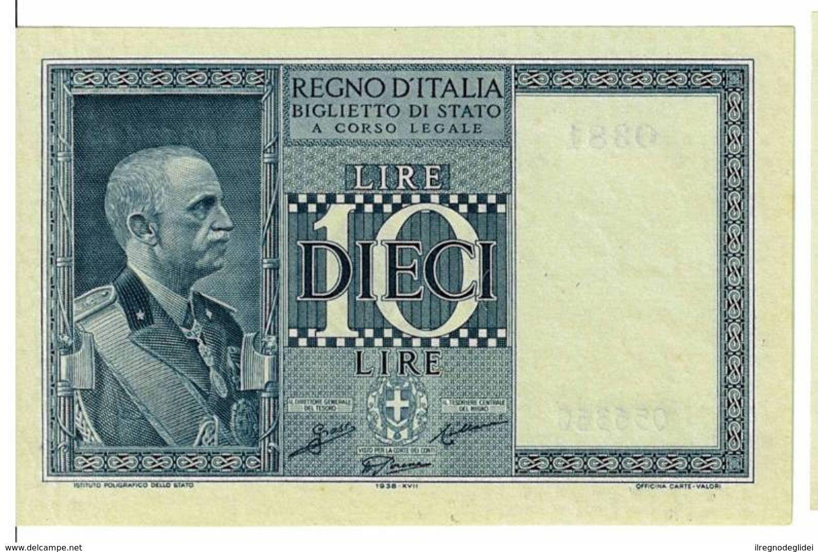 REGNO D'ITALIA - 10 LIRE IMPERO - DECRETO 1938 XVII - FIOR DI STAMPA - GRASSI,COLLARI,PORENA - 0381 - 056357 - Italia – 10 Lire