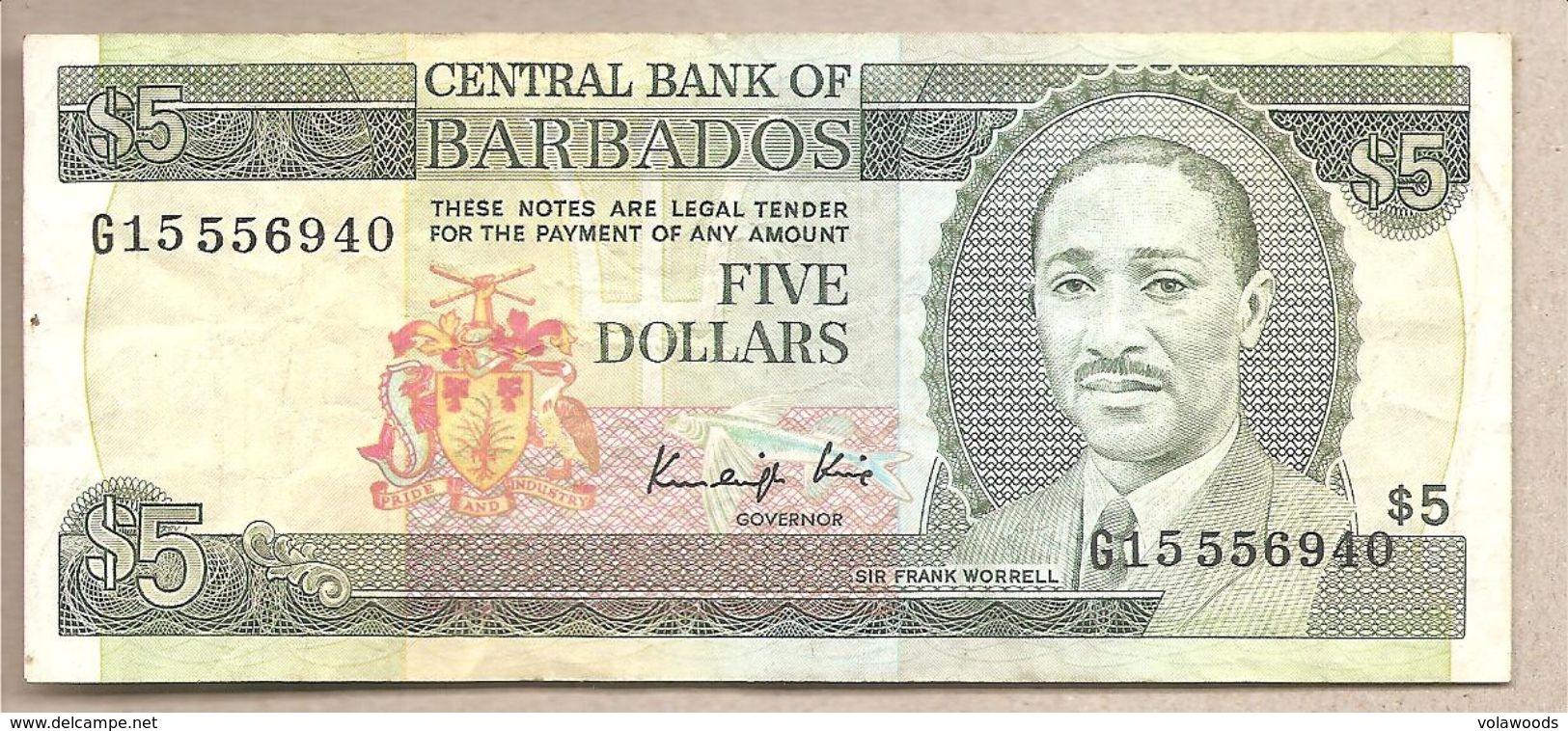 Barbados - Banconota Circolata Da 5 Dollari - 1986 - Barbades