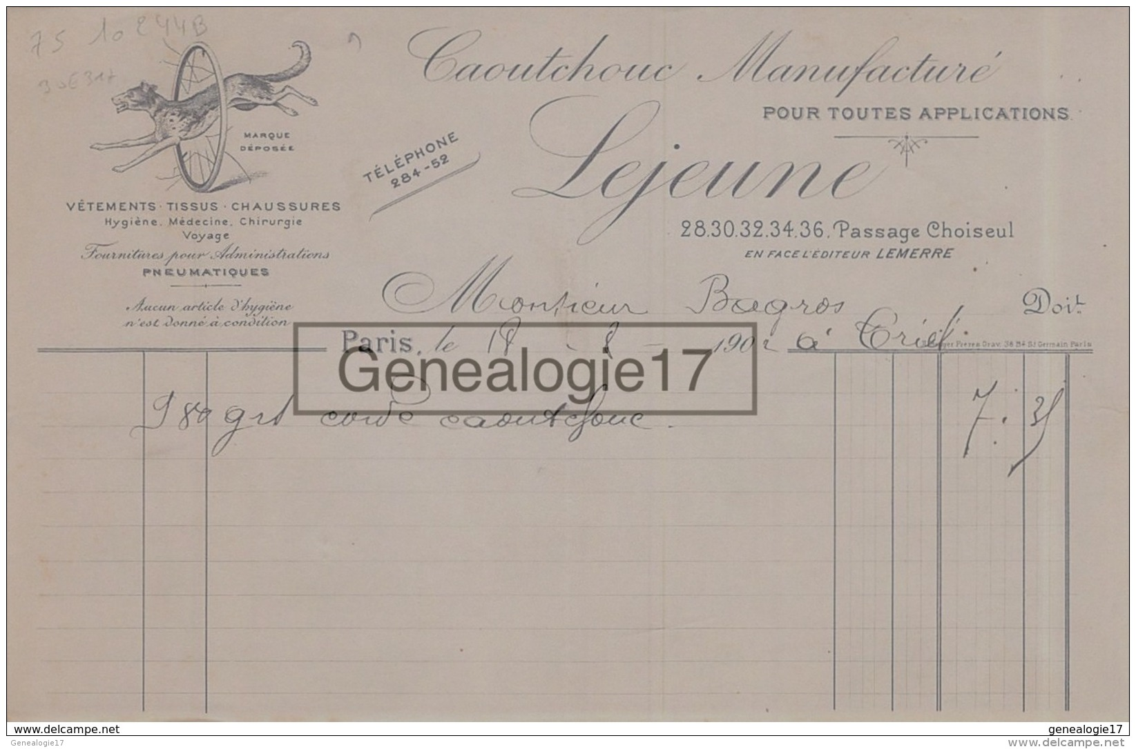 75 10 244 B PARIS SEINE 1902 Caoutchouc ManufacturÂŽ LEJEUNE  Passage Choiseul (Face Editeur LEMERRE ) Medecine CHIRURGI - 1900 – 1949