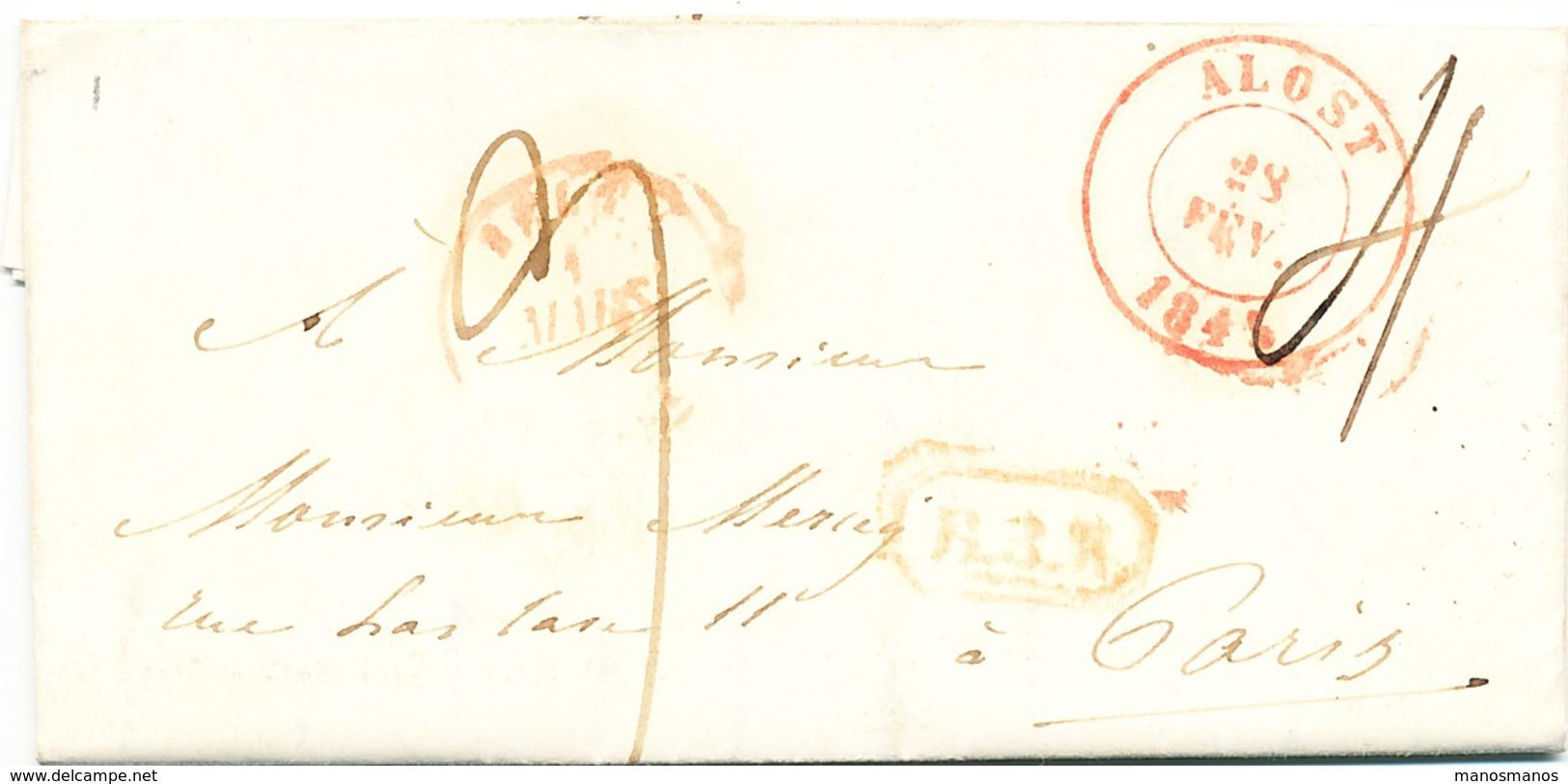 846/25 - Lettre De ALOST 1845 Vers PARIS - Marque De Rayon B3R , Taxation 9 Décimes (dont 4 Pour La Belgique). - 1830-1849 (Belgique Indépendante)