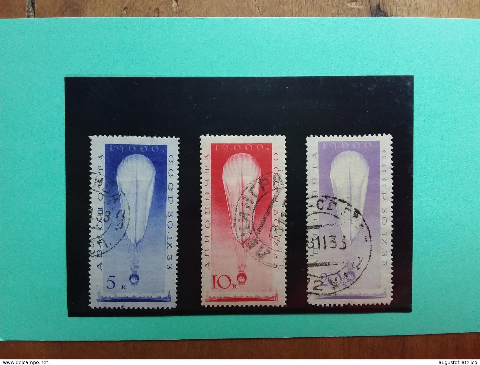 RUSSIA - Ascensione Pallone URSS Nn. A38/40 Timbrati + Spese Postali - 1923-1991 URSS