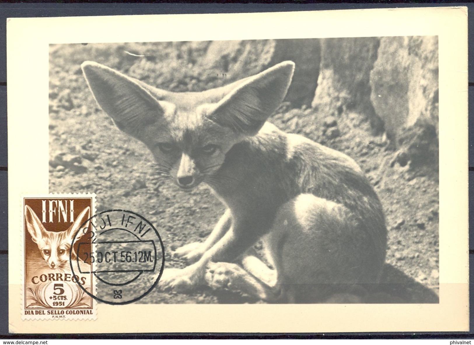 1956 , IFNI , ED. 76 - DIA DEL SELLO , FAUNA AFRICANA , FENNECUS ZERDA,  MAT. DE SIDI IFNI - Ifni