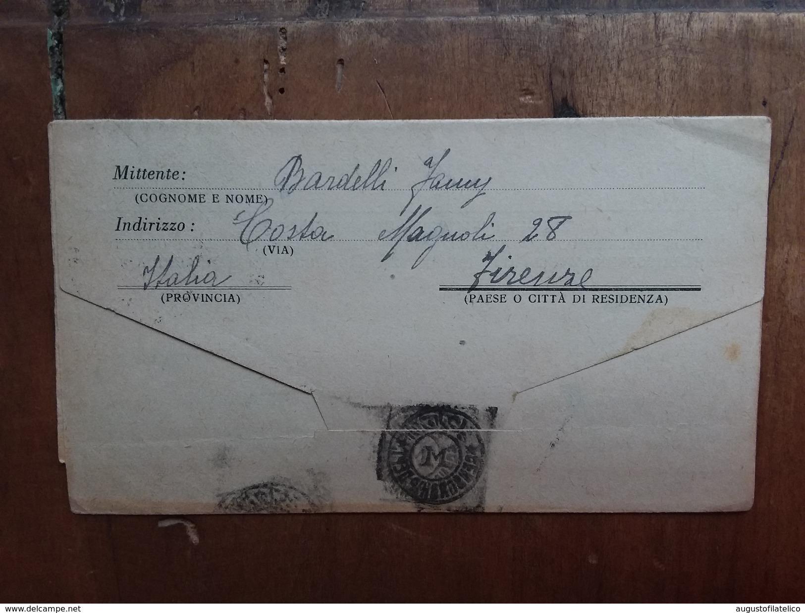 REGNO - Prigionieri Di Guerra - Biglietto Spedito Dall'Italia A Internato Civile Nella Rhodesia Del Sud + Spese Postali - 1900-44 Vittorio Emanuele III