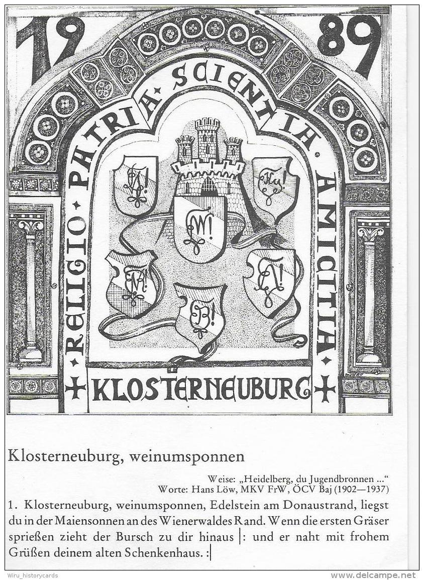 AK 0818  70 Jahre K.Ö.M.V. / 100 Jahre Farbstudenten In Klosterneuburg 1989 - Schulen