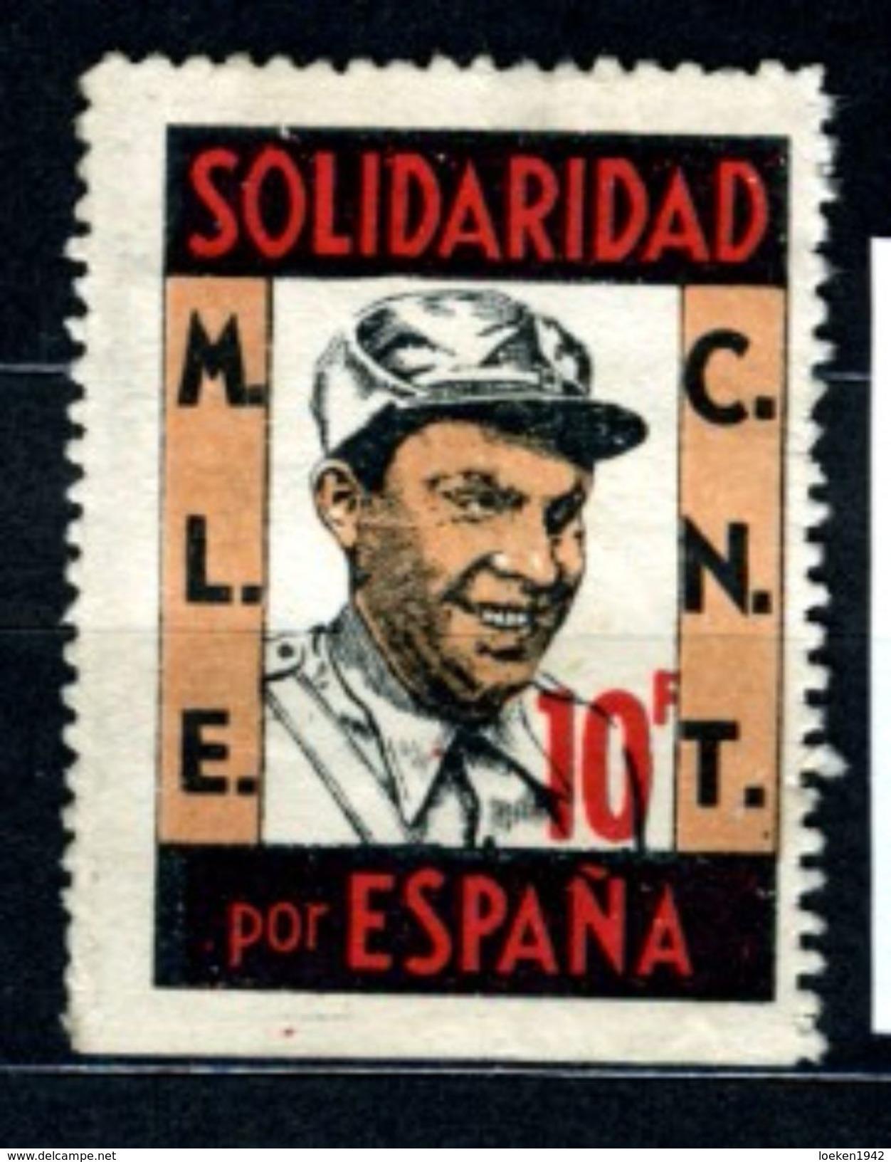 GUERRA CIVIL SOLIDARIDAD POR ESPAÑA MLE CNT  10 F Effigie Durruti  V308 - Viñetas De La Guerra Civil