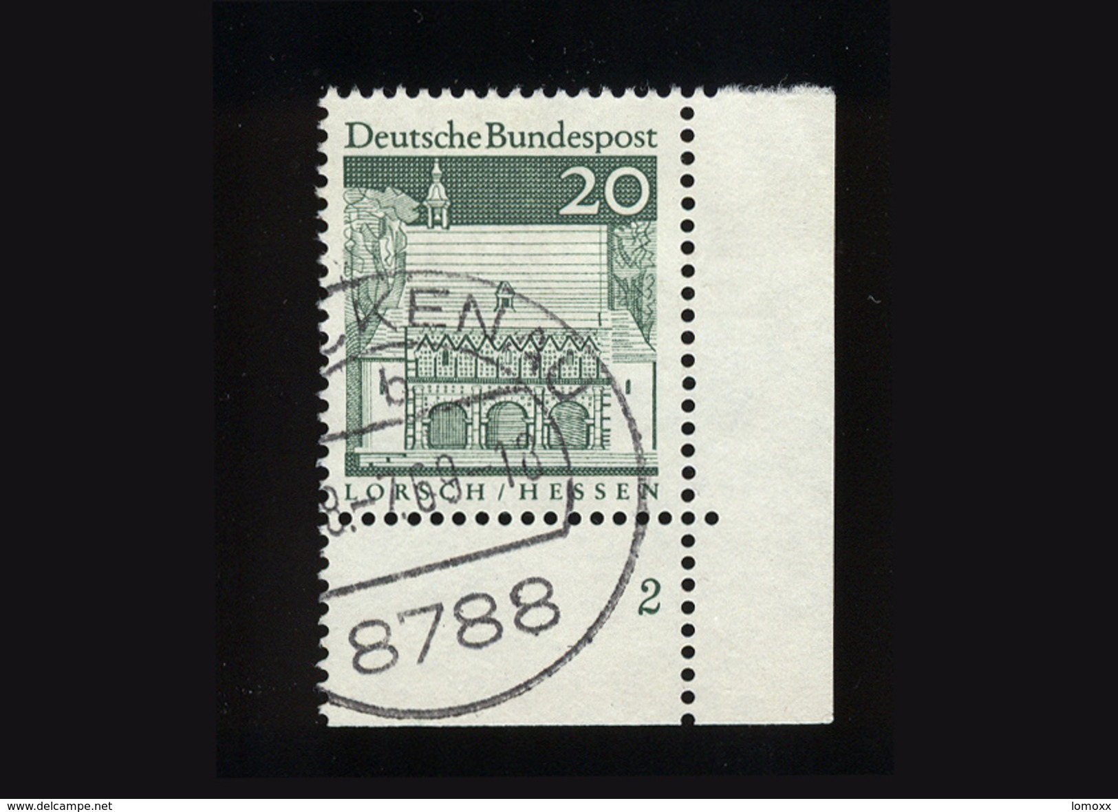 BRD 1966, Michel-Nr. 491, Freimarken Deutsche Bauwerke, 20 Pf., Eckrand Unten Rechts Mit Formnummer 2, Gestempelt - BRD