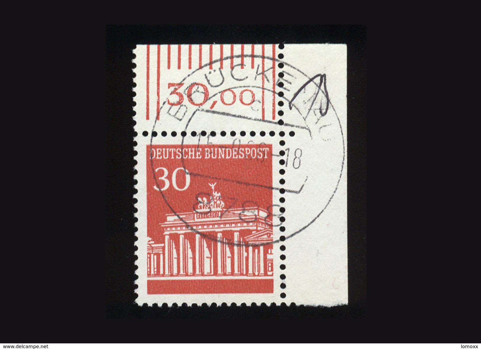 BRD 1966, Michel-Nr. 508 Freimarken Brandenburger Tor, 30 Pf., Eckrand Rechts Oben, Gestempelt - BRD