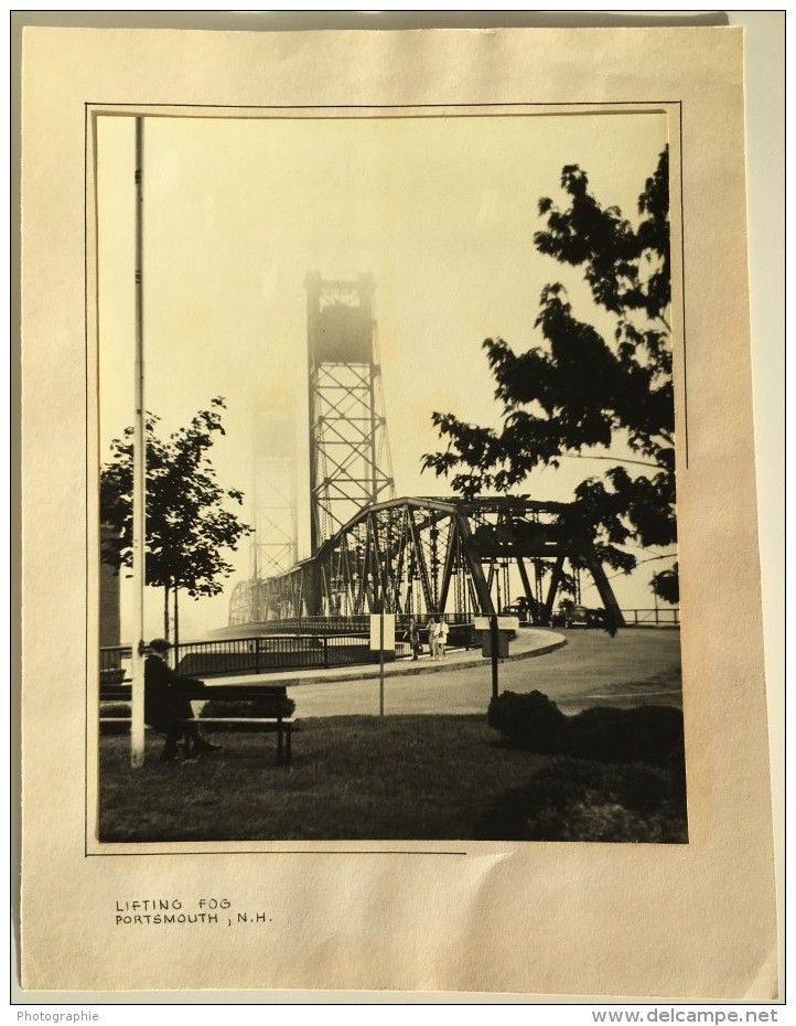 New Hampshire Portsmouth Memorial Bridge Pont Metallique Lifting Fog Ancienne Photo 1940 - Places