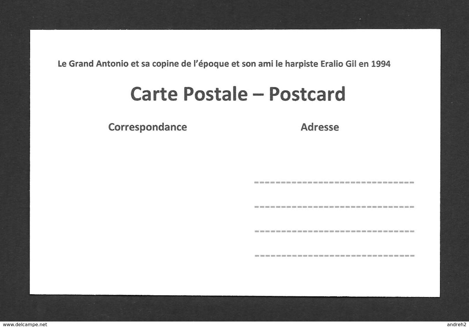 SPORTS - LE GRAND ANTONIO LUTTEUR ET HOMME FORT - LE GRAND ANTONIO ET SA COPINE ET SON AMI ERALIO GIL HARPISTE EN 1994 - Lutte