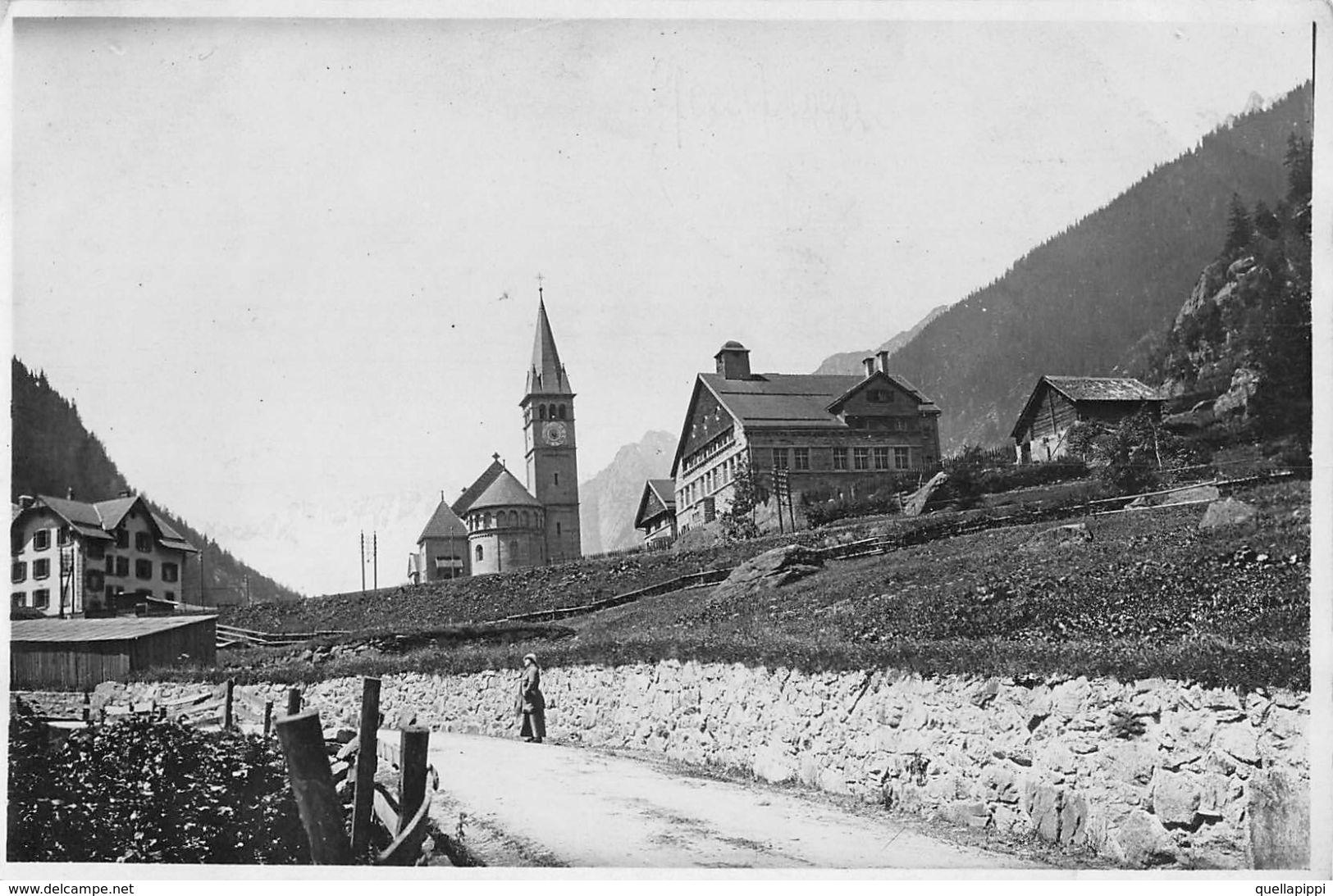 """07111 """"GOESCHENEN - CANTON URI - SVIZZERA - CIRCA 1900"""" ANIMATA. CHIESA. FOTOGRAFIA ORIGINALE. - Places"""
