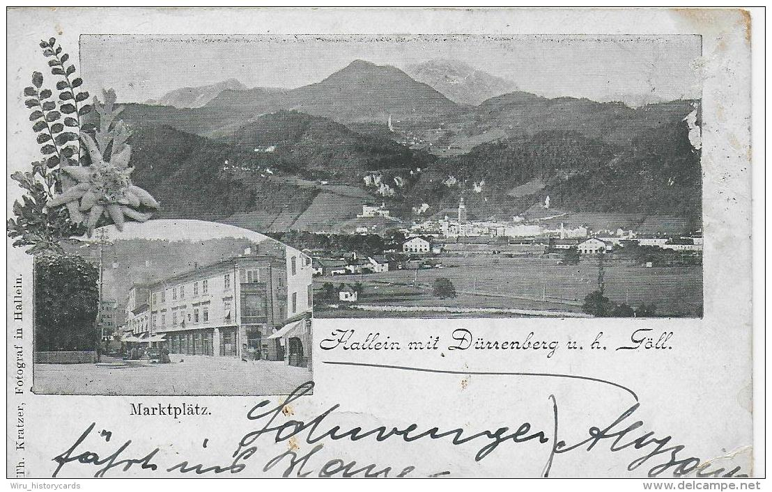 AK 0819  Hallein Mit Dürrenberg U. H. Göll  ( Marktplatz ) - Foto Kratzer Ca. Um 1900 - Österreich