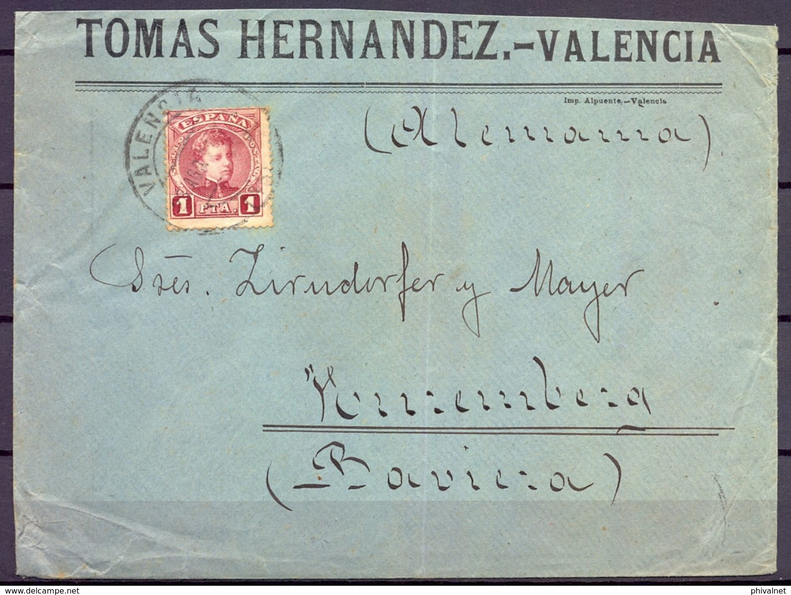 VALENCIA - NÜREMBERG , SOBRE COMERCIAL CIRCULADO , ED. 253 - 1889-1931 Reino: Alfonso XIII