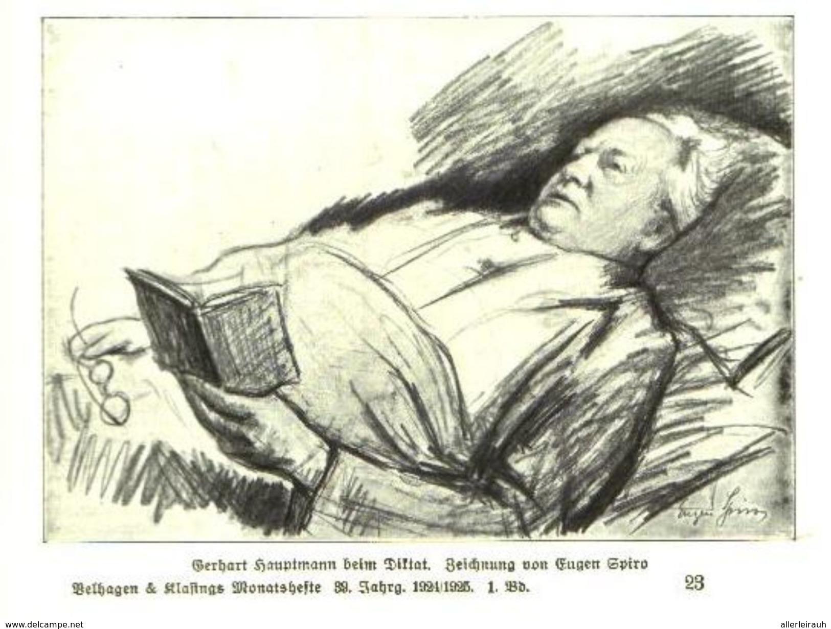 Gerhart Hauptmann Beim Diktat (nach Einer Zeichnung Von Eugen Spiro)    / Druck, Entnommen Aus Zeitschrift /1924 - Bücher, Zeitschriften, Comics