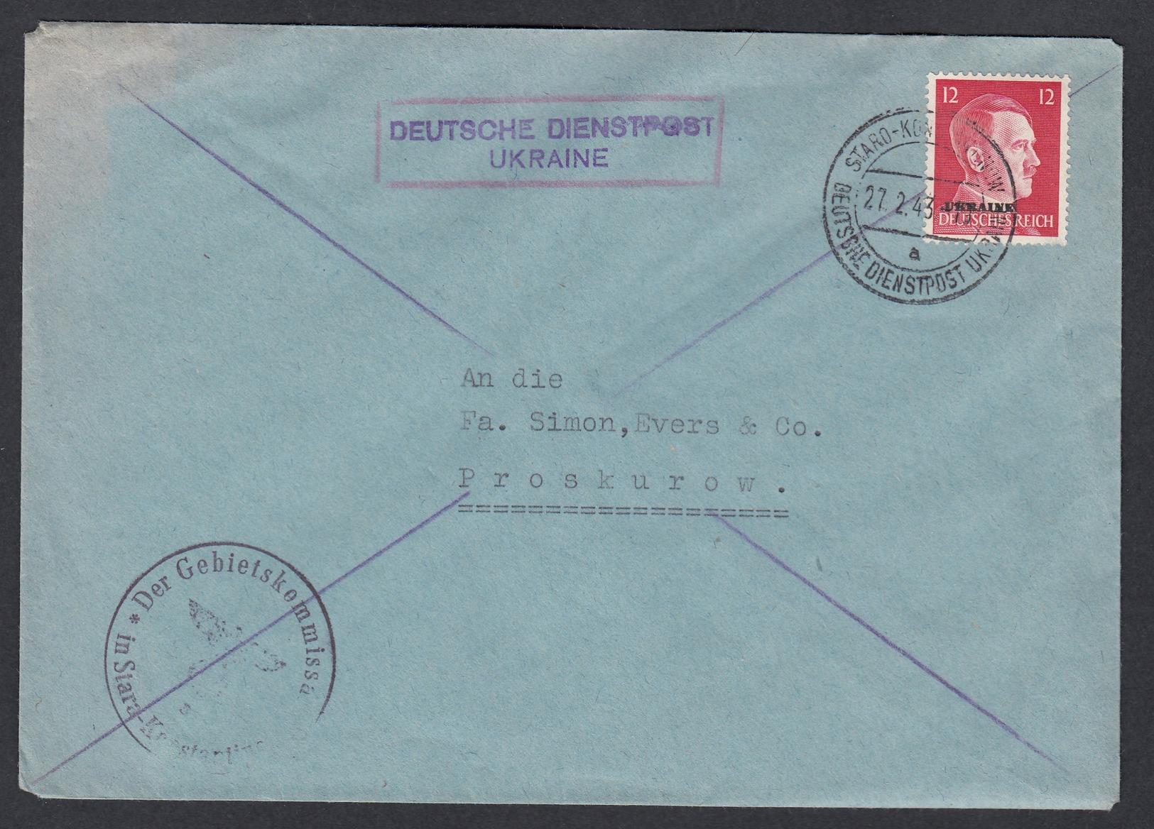 DR Deutsche Dienstpost Ukraine  1943 Staro Konstantinov Nach Proskurow K687 - Dienstpost