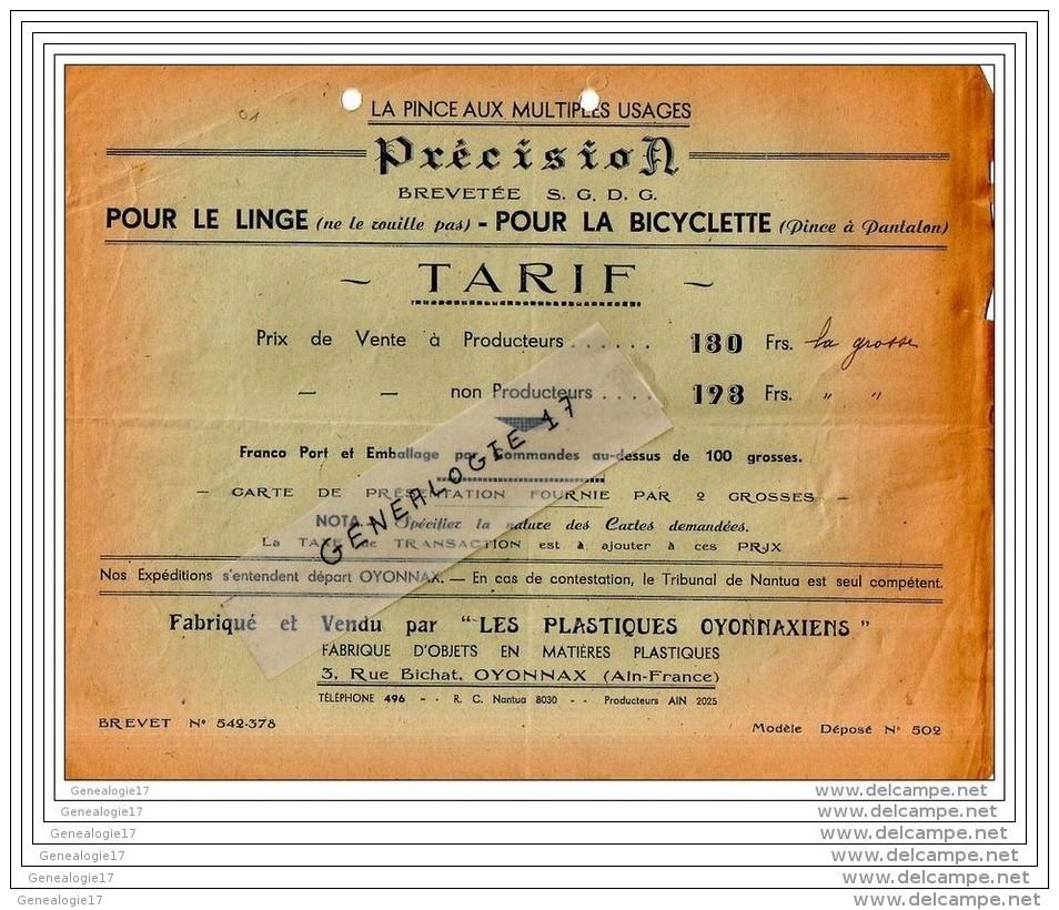 01 619 OYONNAX AIN 19.. Pince ˆ Linge Et  Bicyclette Marque PRECISION Des PLASTIQUES OYONNAXIENS 3 Rue Bichat Dest - Alimentaire