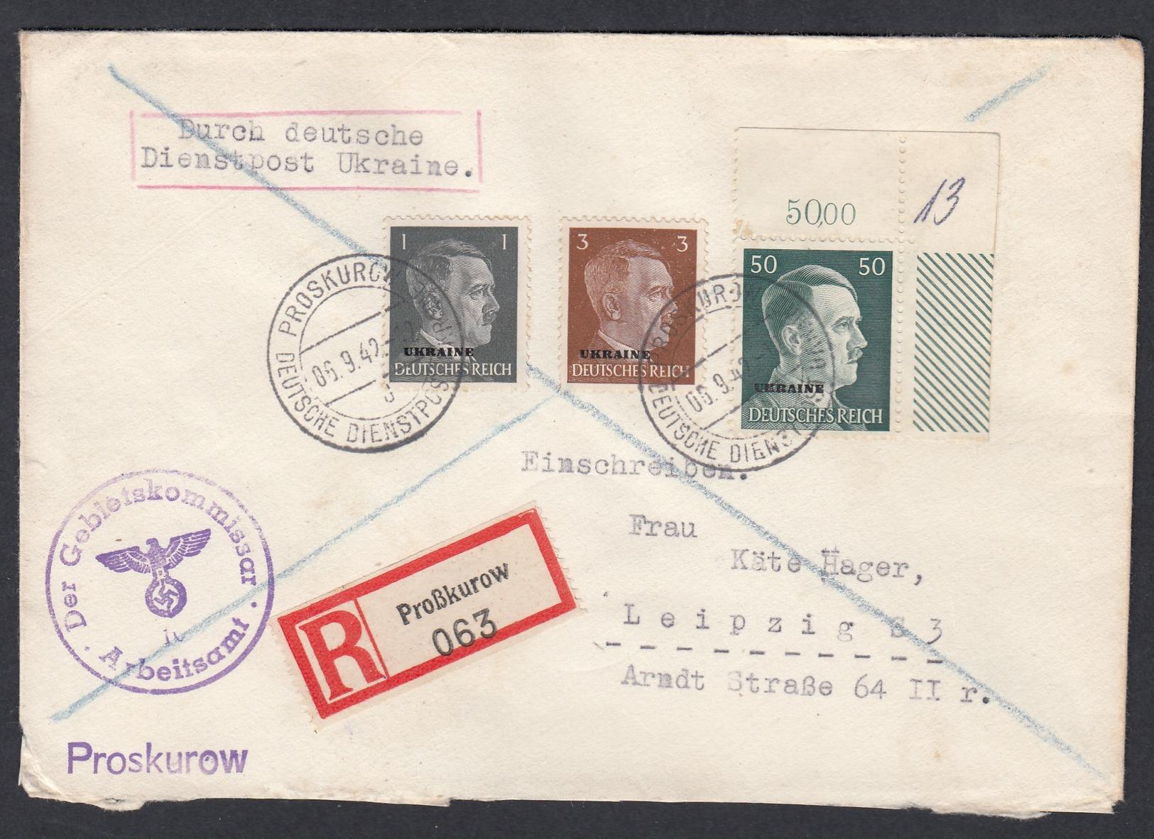 DR Deutsche Dienstpost Ukraine Einschreiben MiF Eckrandstück Bögenzähler 1942 Proskurow Nach Leipzig K700 - Dienstpost