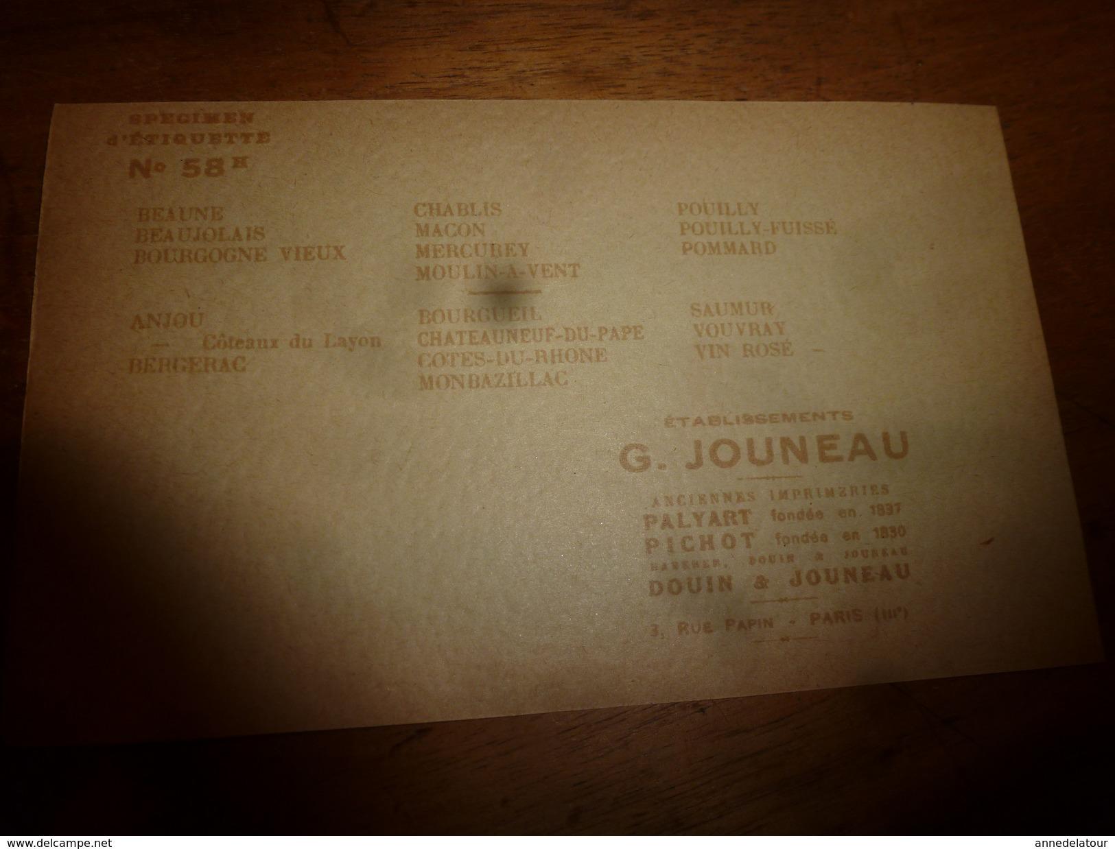 1920 ? Spécimen étiquette De Vin De BERGERAC N° 58  ,déposé, Imp. G.Jouneau  3 Rue Papin à Paris (illustr Château) - Bergerac