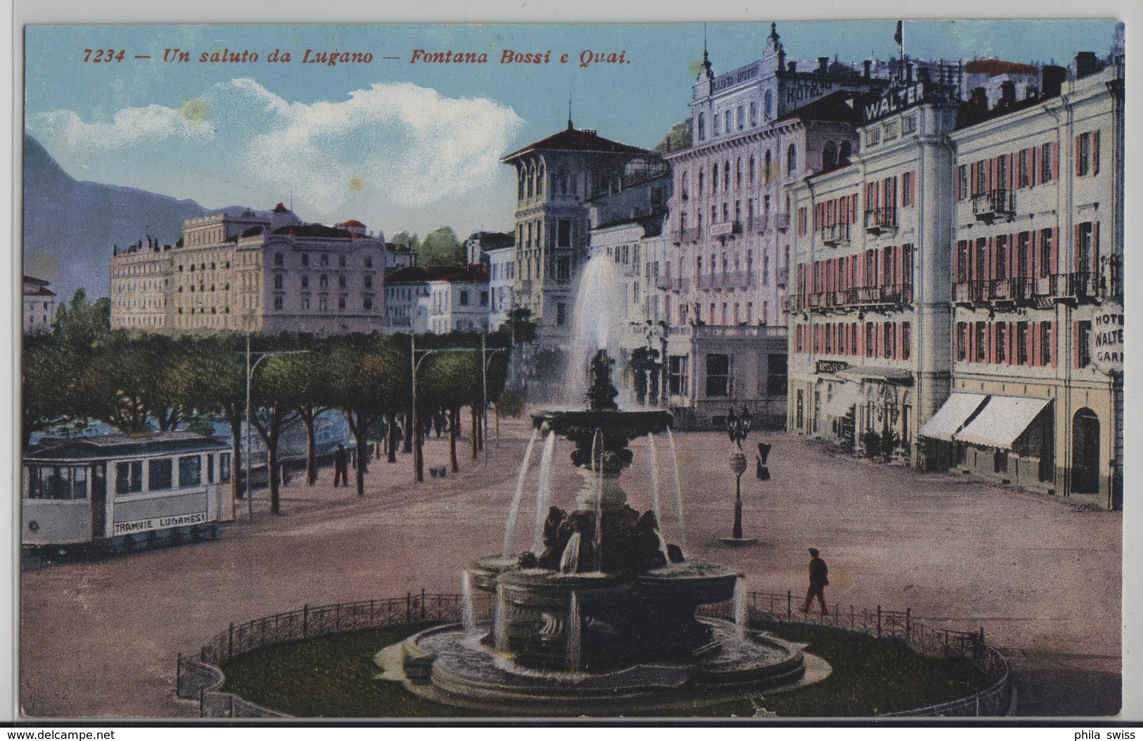Un Saluto Da Lugano - Fontana Bossi E Quai - Tramvie Luganesi, Animee - TI Tessin