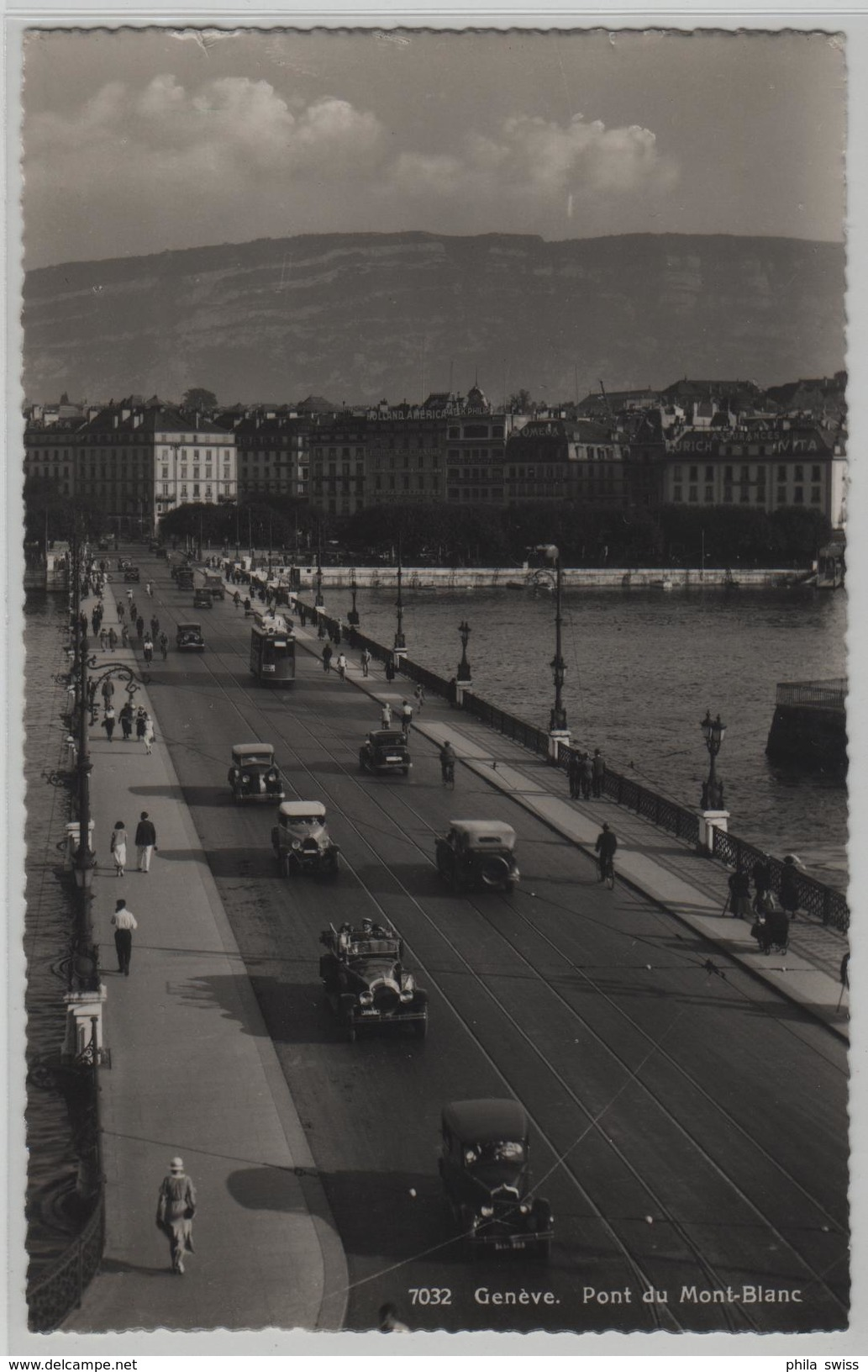 Geneve - Pont Du Mont-Blanc - Tram, Oldtimer, Cabrio, Animee - Photo: Jeager - GE Genève