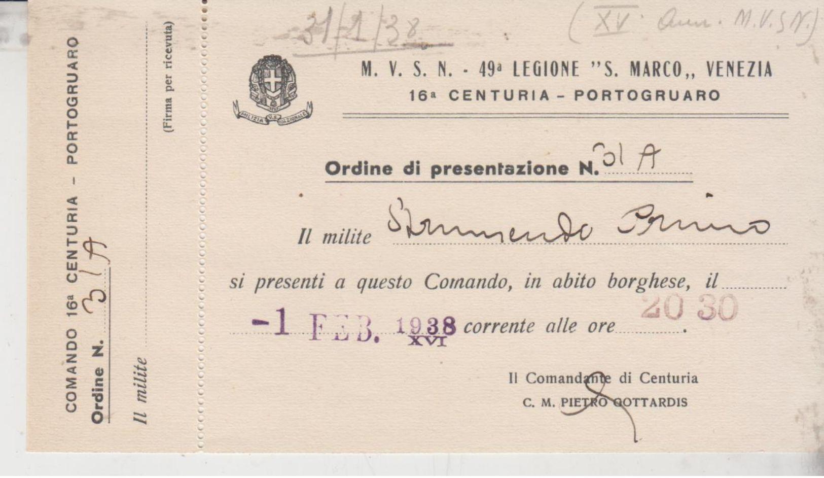 Portogruaro Comando 16° Centuria 49° Legione S. Marco Venezia Ordine N. 31/a Del 1938 - Venezia