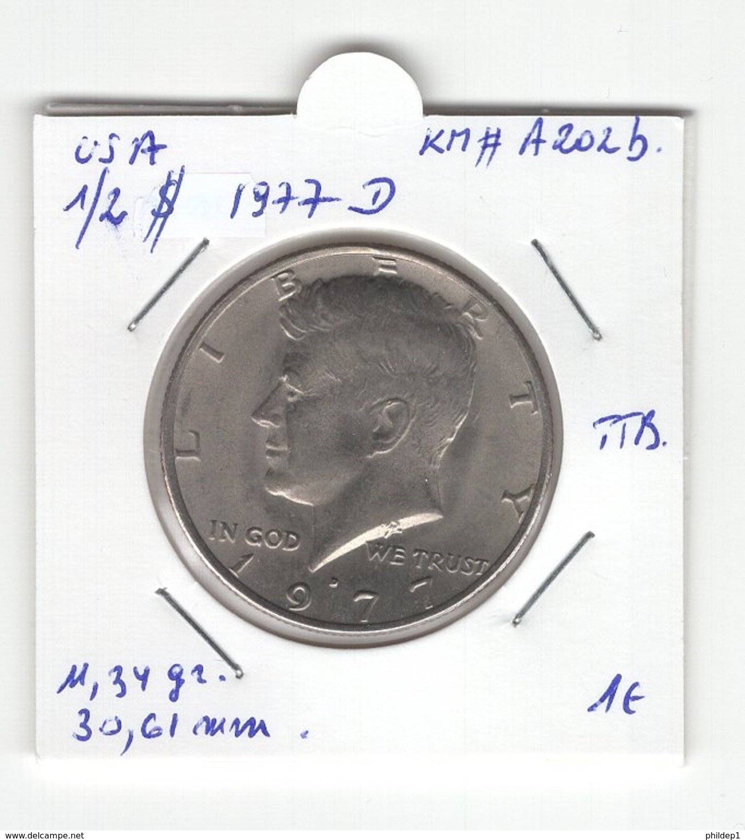 USA. Half Dollar, 1/2 $ 1977 D. KM # A202b. TTB - 1964-…: Kennedy