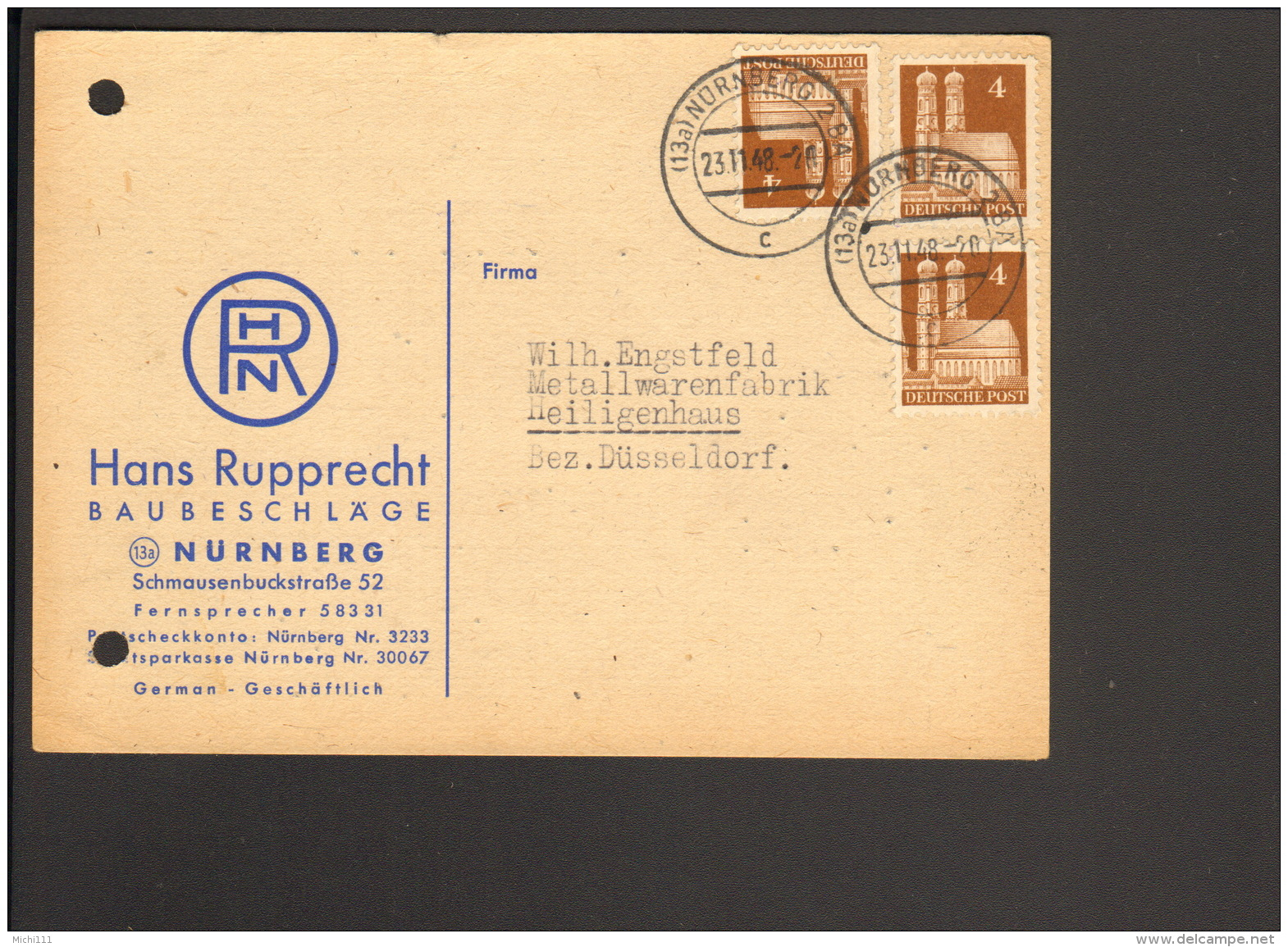 Bizone 3 X 4 Pfg.Bauten  A.Postkarte V. Nürnberg 2 BA V.1948 Abs.Fa. Rupprecht Baubeschläge - Zone Anglo-Américaine