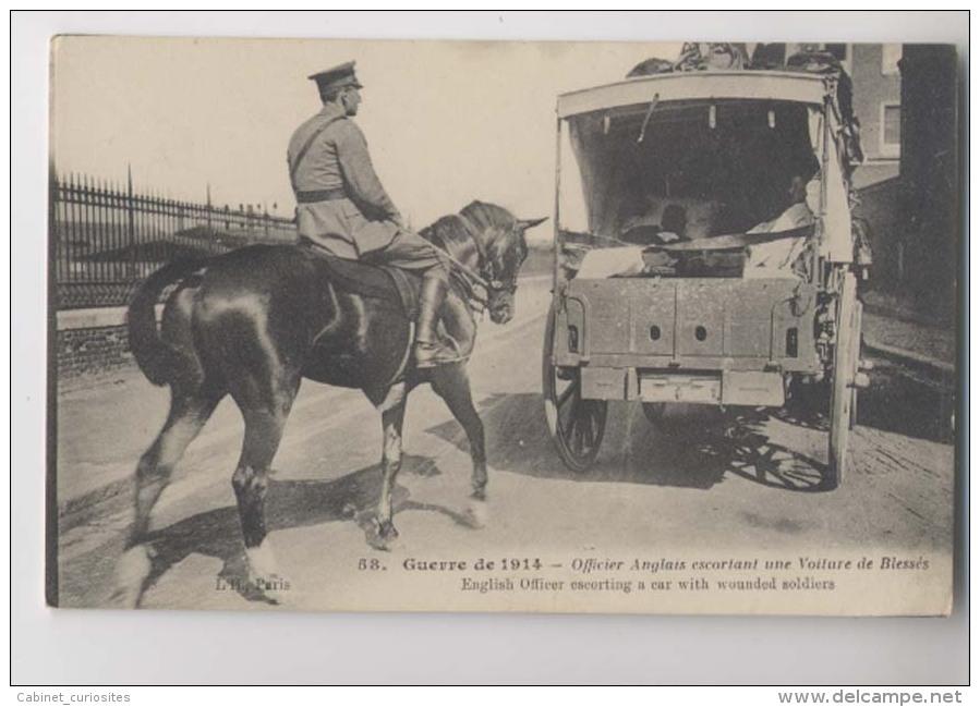 Guerre 14/18 - Officier Anglais Escortant Une Voiture De Blessés - Animée - Guerre 1914-18