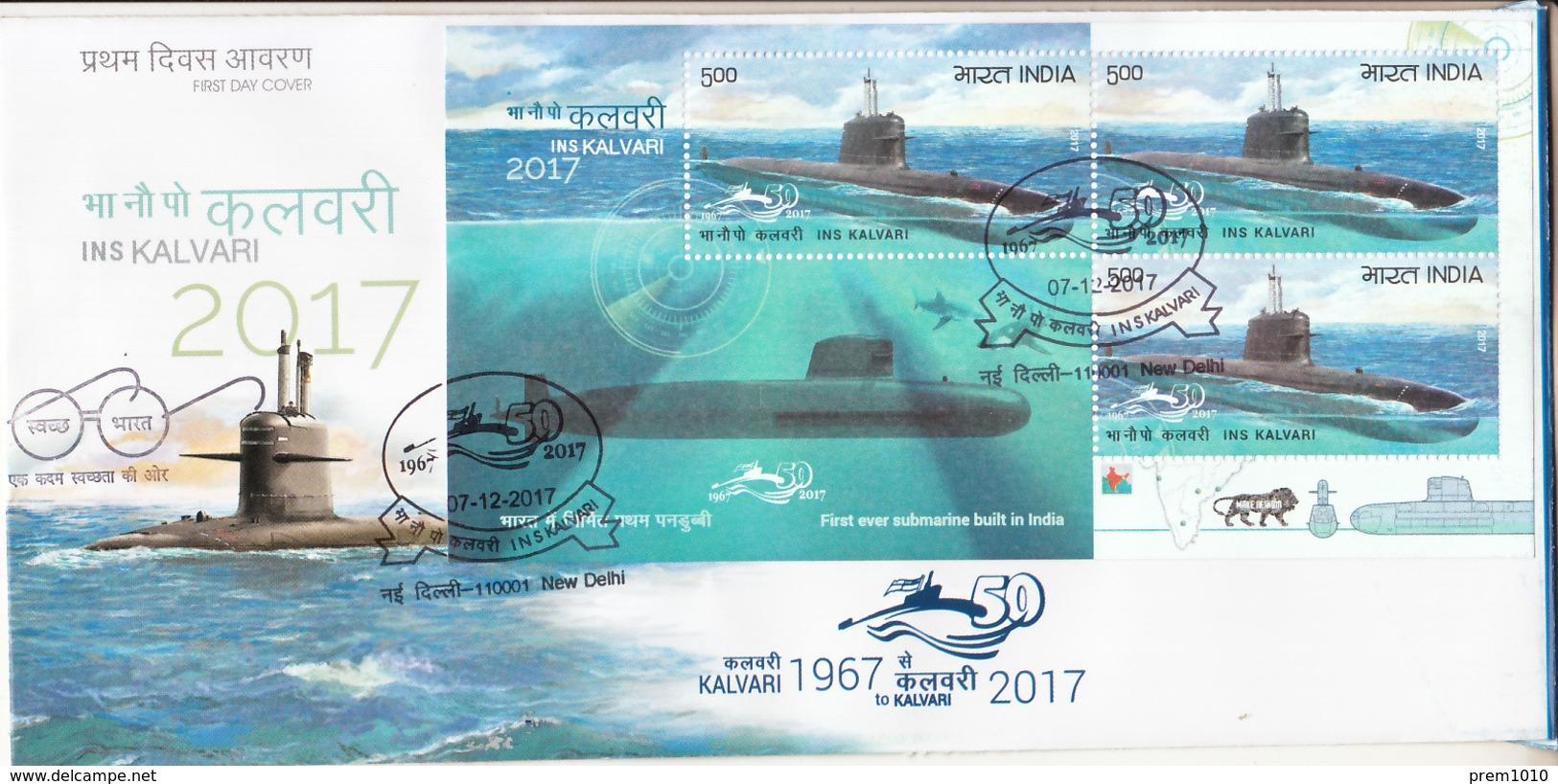 INDIA- 2017- NAVAL SHIPS- Submarine- INS- KALVARI- FDC With MS Cancelled Navires Navals-sous-marin- Marineschiffe-u-Boot - Militaria