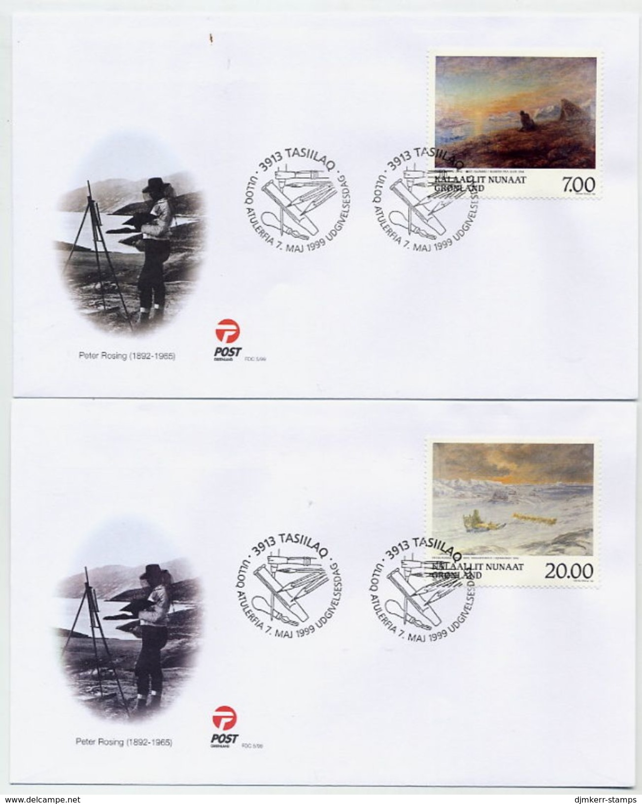 GREENLAND 1999 Paintings On FDCs.  Michel 336-37 - FDC