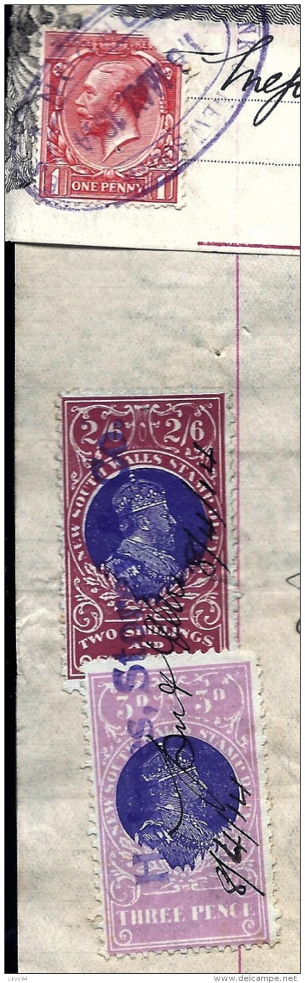 FACTURE ANCIENNE- AUSTRALIE POUR FRANCE- VENTE PEAUX DE MOUTONS-  TIMBRES TAXES + ASSURANCE- 1914- 2 SCANS - Australie