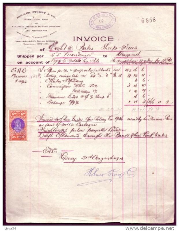 FACTURE ANCIENNE- AUSTRALIE POUR FRANCE- VENTE PEAUX DE MOUTONS-  TIMBRES TAXES + ASSURANCE- 1913- 2 SCANS - Australie