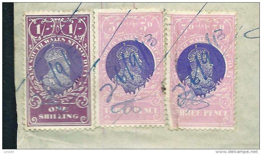 FACTURE ANCIENNE- AUSTRALIE POUR FRANCE- VENTE PEAUX DE MOUTONS-  TIMBRES TAXES + ASSURANCE- 1913- 3 SCANS - Australie