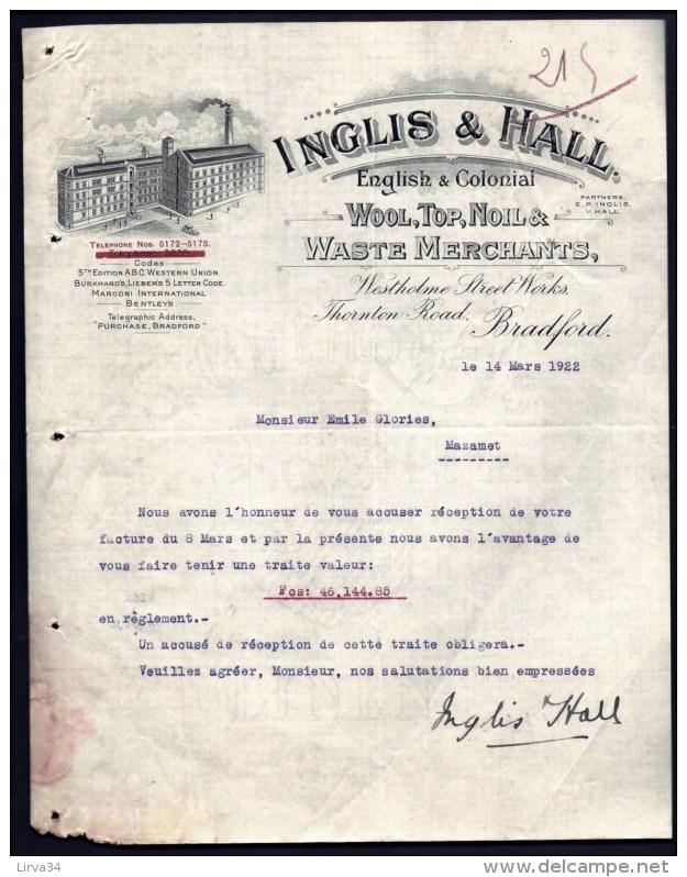 FACTURE OU LETTRE  ANCIENNE AVEC ILLUSTRATION- ANGLETERRE- BRADFORD POUR FRANCE- MAISON : INGLIS- 1908 - Ver. Königreich