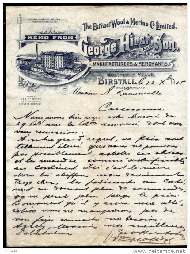 FACTURE OU LETTRE  ANCIENNE AVEC ILLUSTRATION- ANGLETERRE- BIRSTALL POUR FRANCE- MAISON : HIEST & SON- 1905 - Australie