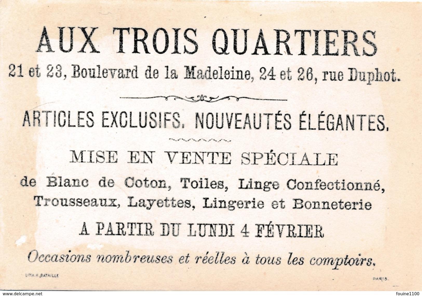 CHROMO   Pierrot Avec épée ( Escrime / Couper La Tête  ) AUX TROIS QUARTIERS ( Lith H. Bataille à Paris ) - Autres