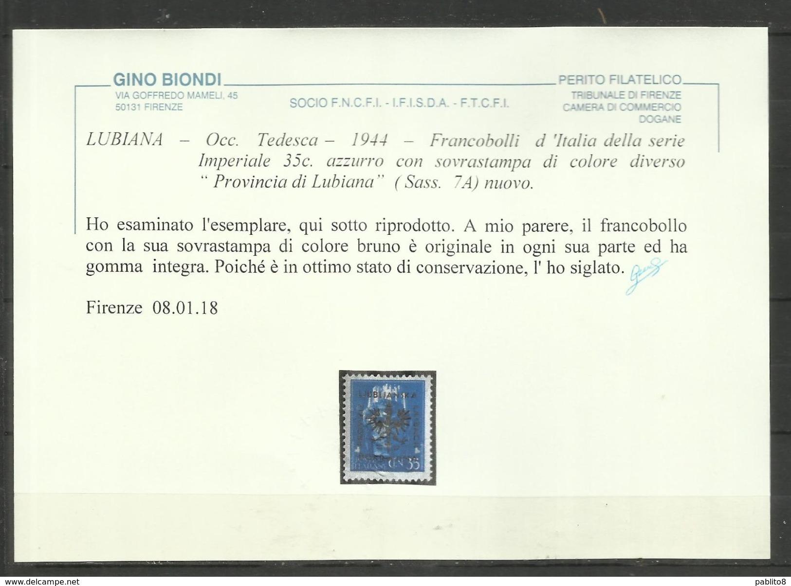 OCCUPAZIONE ITALIANA GERMAN LUBIANA TEDESCA 1944 OVERPRINT DIFFERENT COLOR SOPRASTAMPA DI COLORE DIVERSO CENT. 35c MNH - Occup. Tedesca: Lubiana