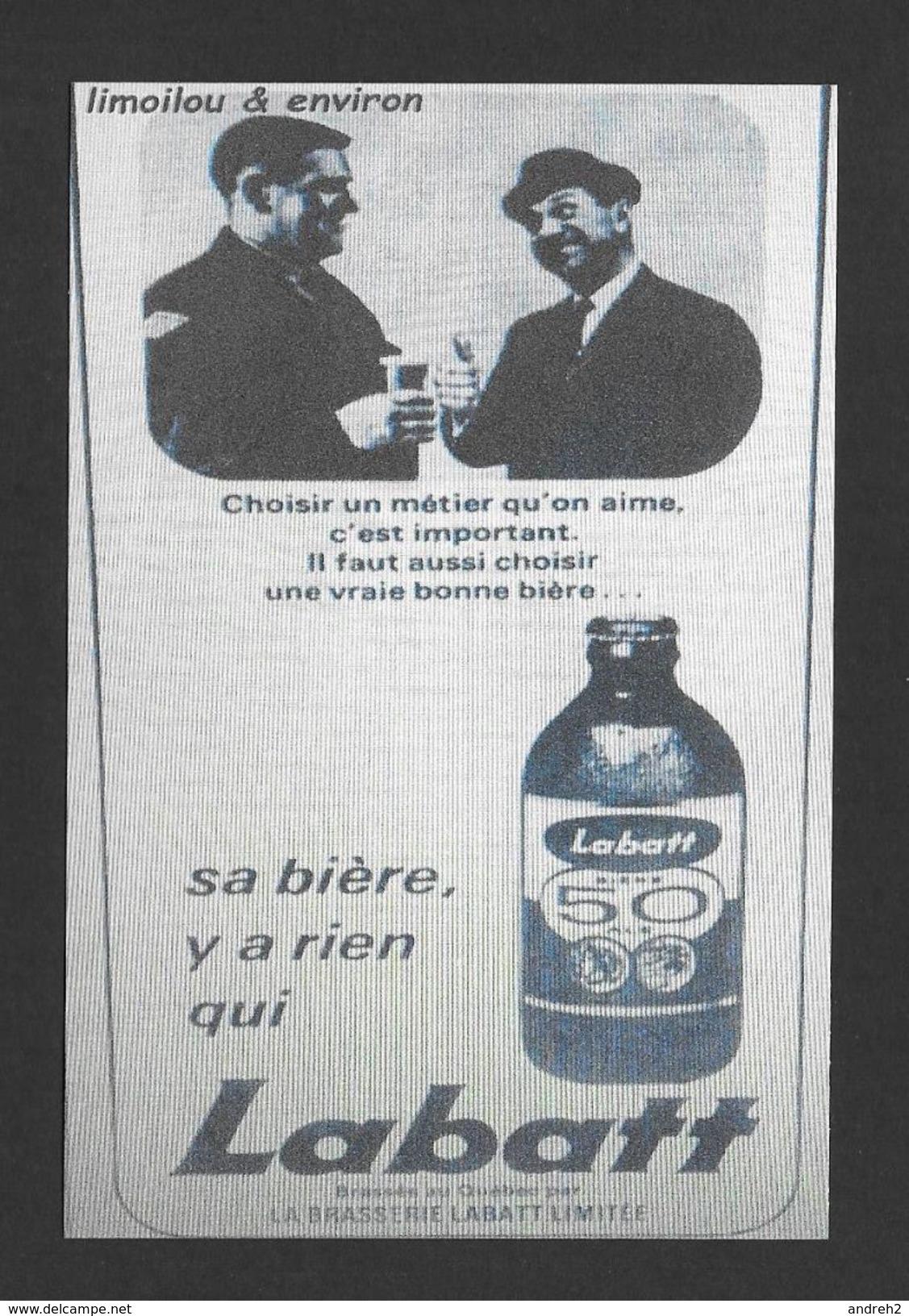 PUBLICITÉ - ADVERTISING - LABATT 50 - OLIVIER GUIMOND LUI Y CONNAIS ÇA - SA BIÈRE Y A RIEN QUI LABATT - Advertising