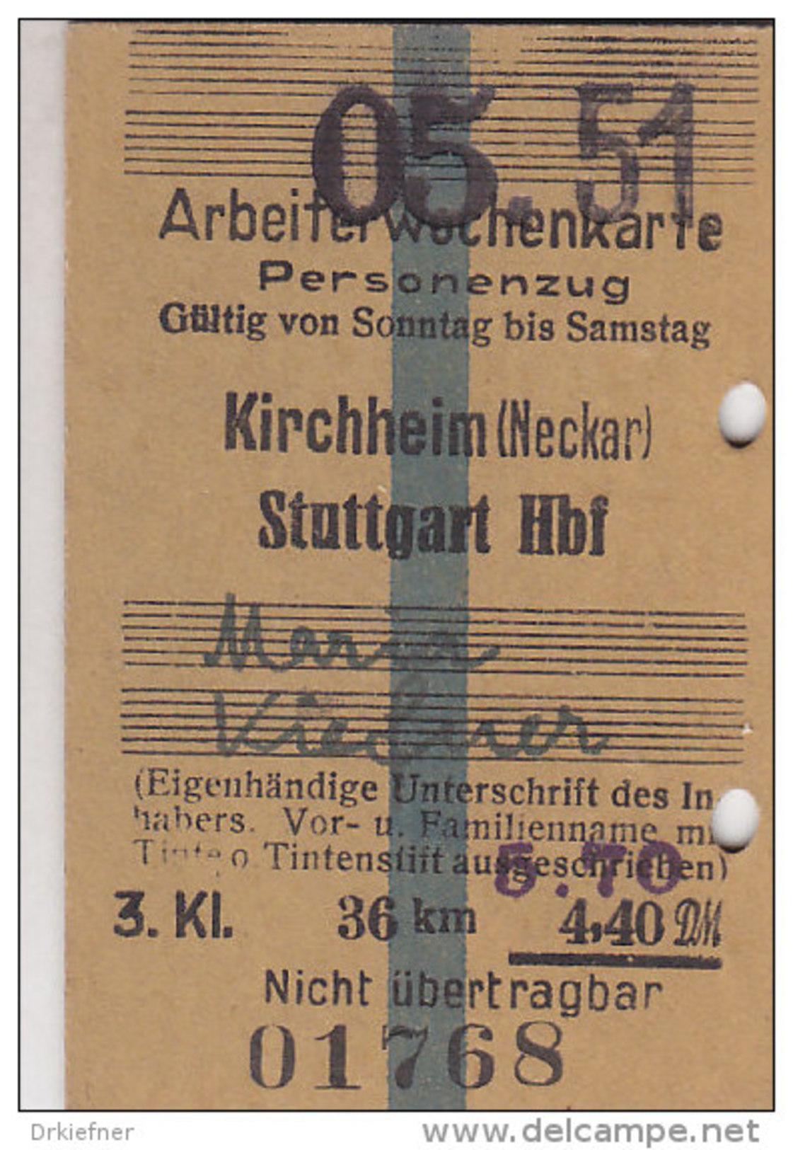 Fahrkarte, Ticket, Billet: EISENBAHN Arbeiterwochenkarte Kirchheim (Neckar) - Stuttgart 1951, So. Bis Sa.,3. Kl. 5,70 DM - Wochen- U. Monatsausweise
