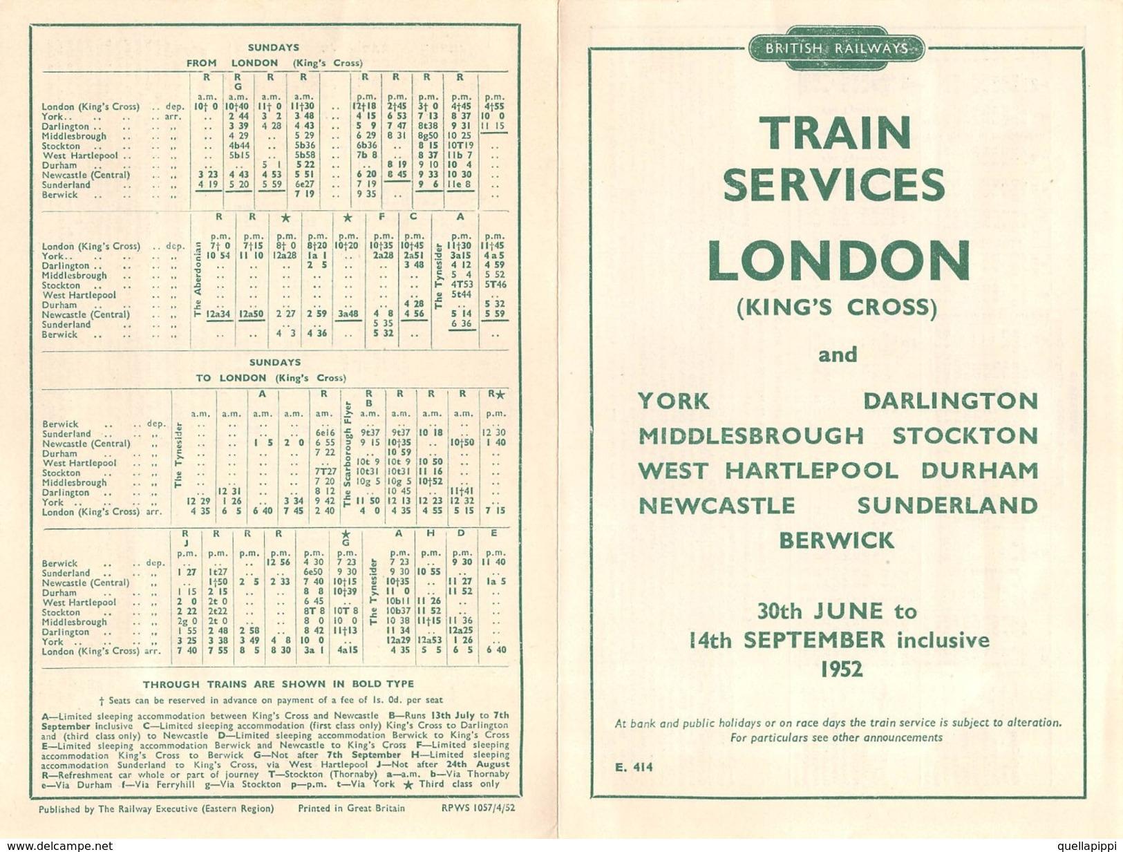 "07137 ""BRITISH RAILWAYS-TRAIN SERVICES-LONDON AND YORK-DARLINGTON-MIDDLESBROUGH.... 1952"" ORARI ORIG. - Europe"