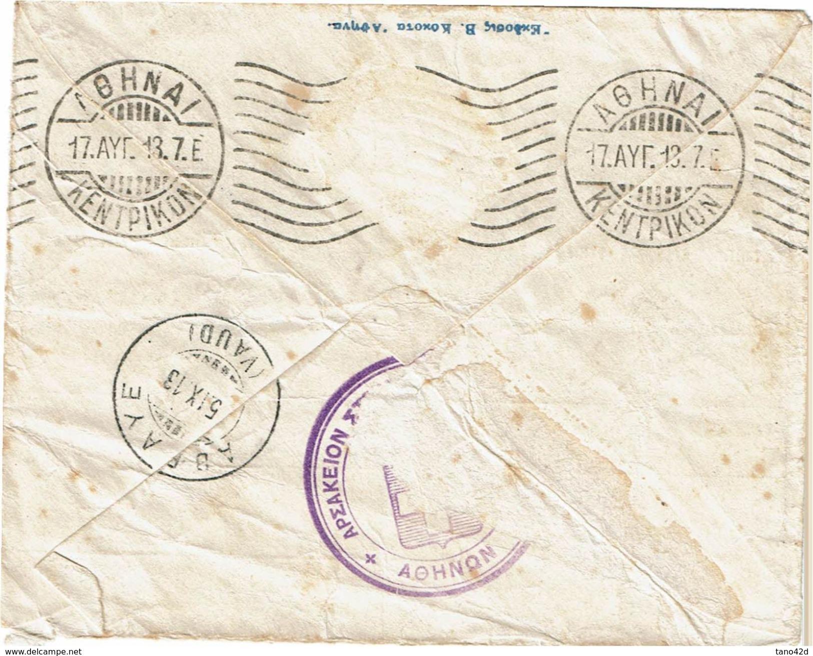 LBR39 - GRECE ENVELOPPE AVEC REPIQUAGE DE PROPAGANDE POLITIQUE CIRCULEE TPM ENLEVE - Lettres & Documents
