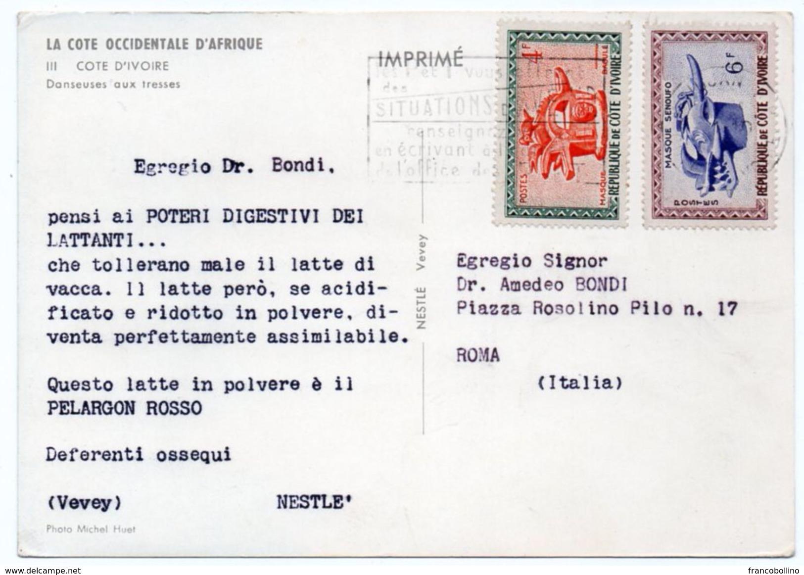 DEAR DOCTOR TYPE PUBL. PELARGON ROSSO-NESTLE' / COTE D'IVOIRE DANSEUSES AUX TRESSES SEINS NUS/BREASTS NUDE - Costa D'Avorio