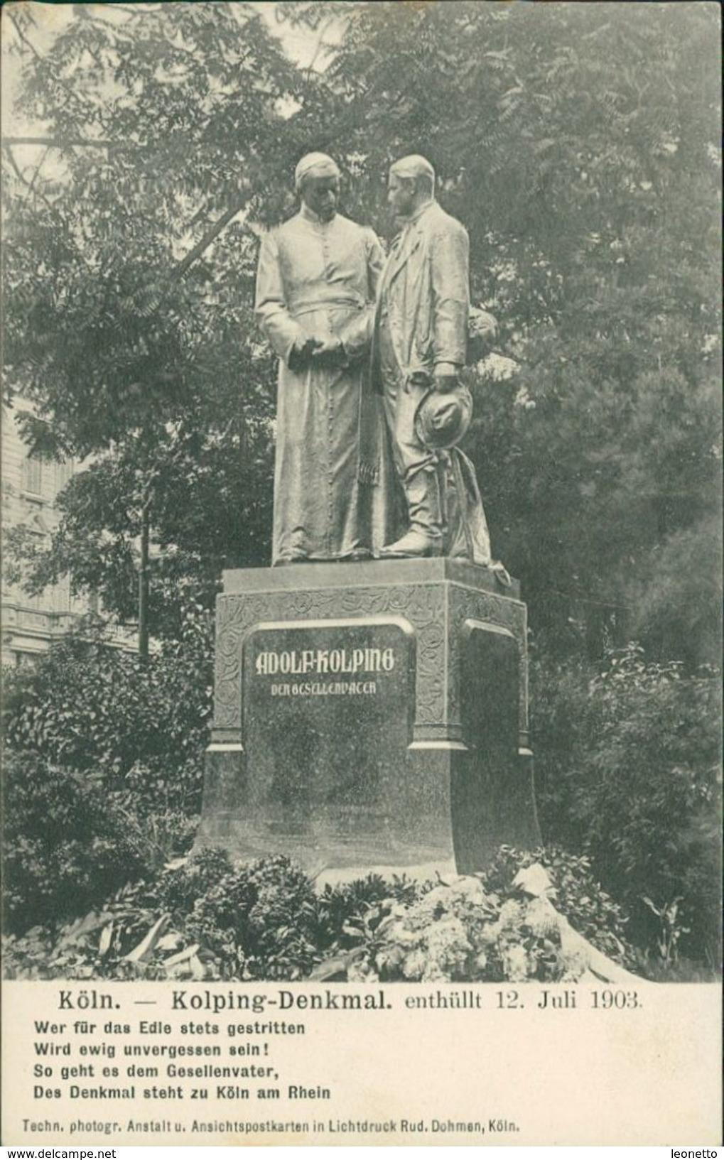 AK Köln, Kolping-Denkmal, Enthüllt 12. Juli 1903, Um 1903 (28114) - Köln